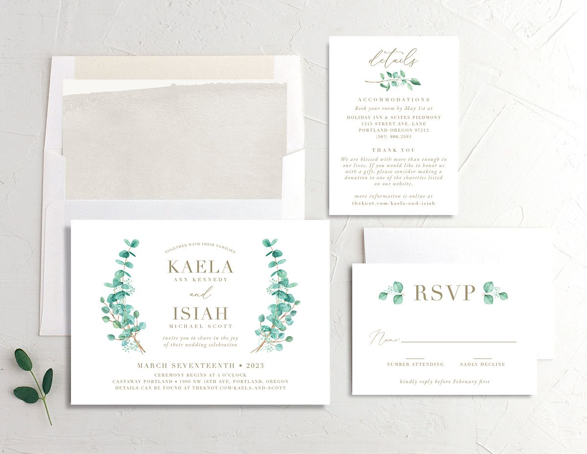 Elegant Eucalyptus Wedding Stationery Suite front