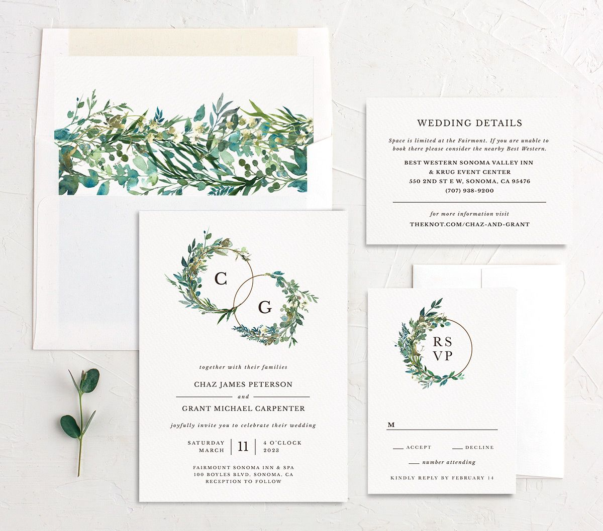 Leafy Hoops Wedding Invitation suite