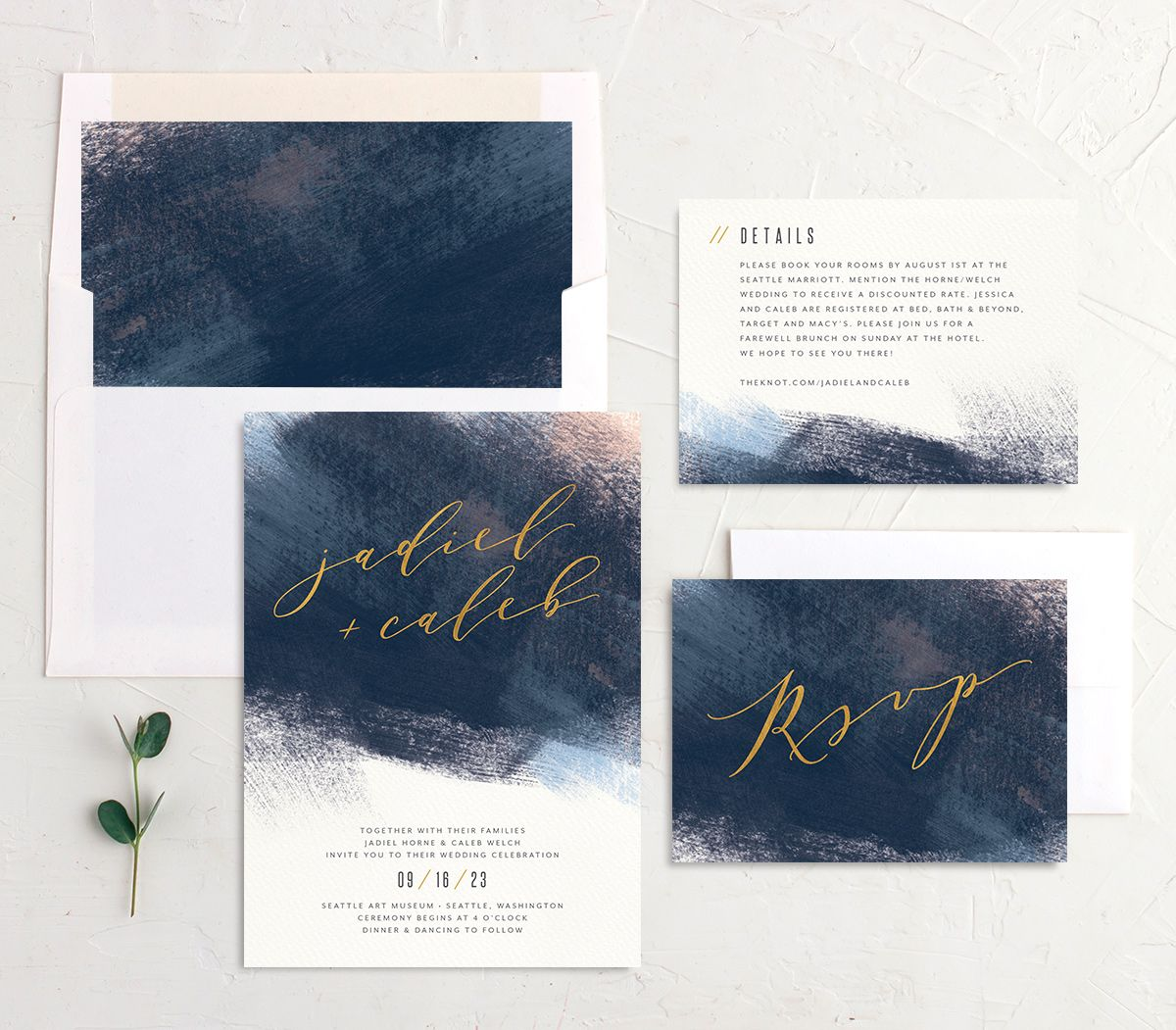 Modern Brushstroke Wedding Stationery Blue