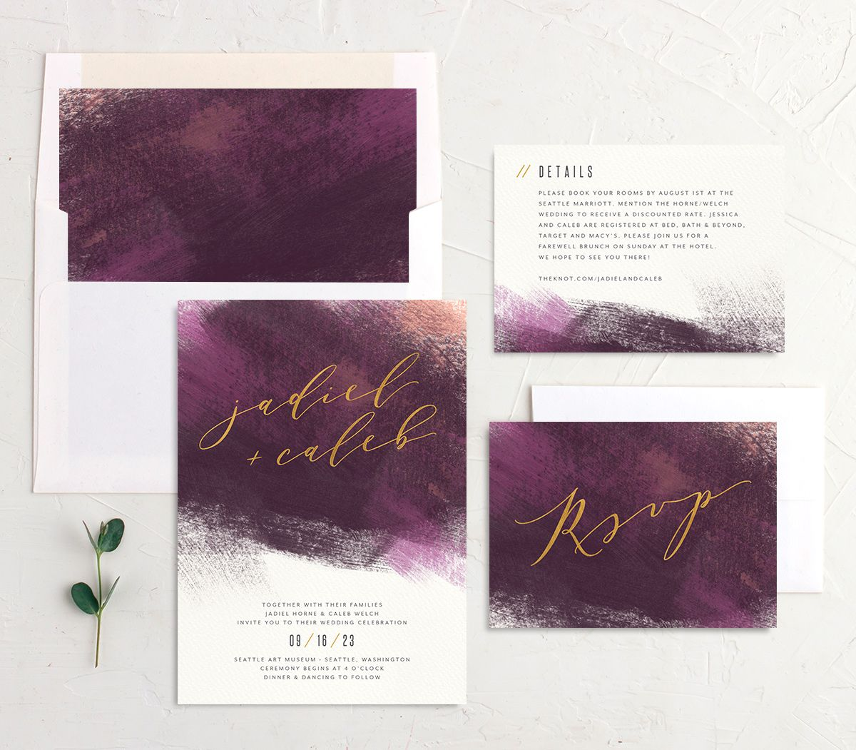 Modern Brushstroke Wedding Stationery purple