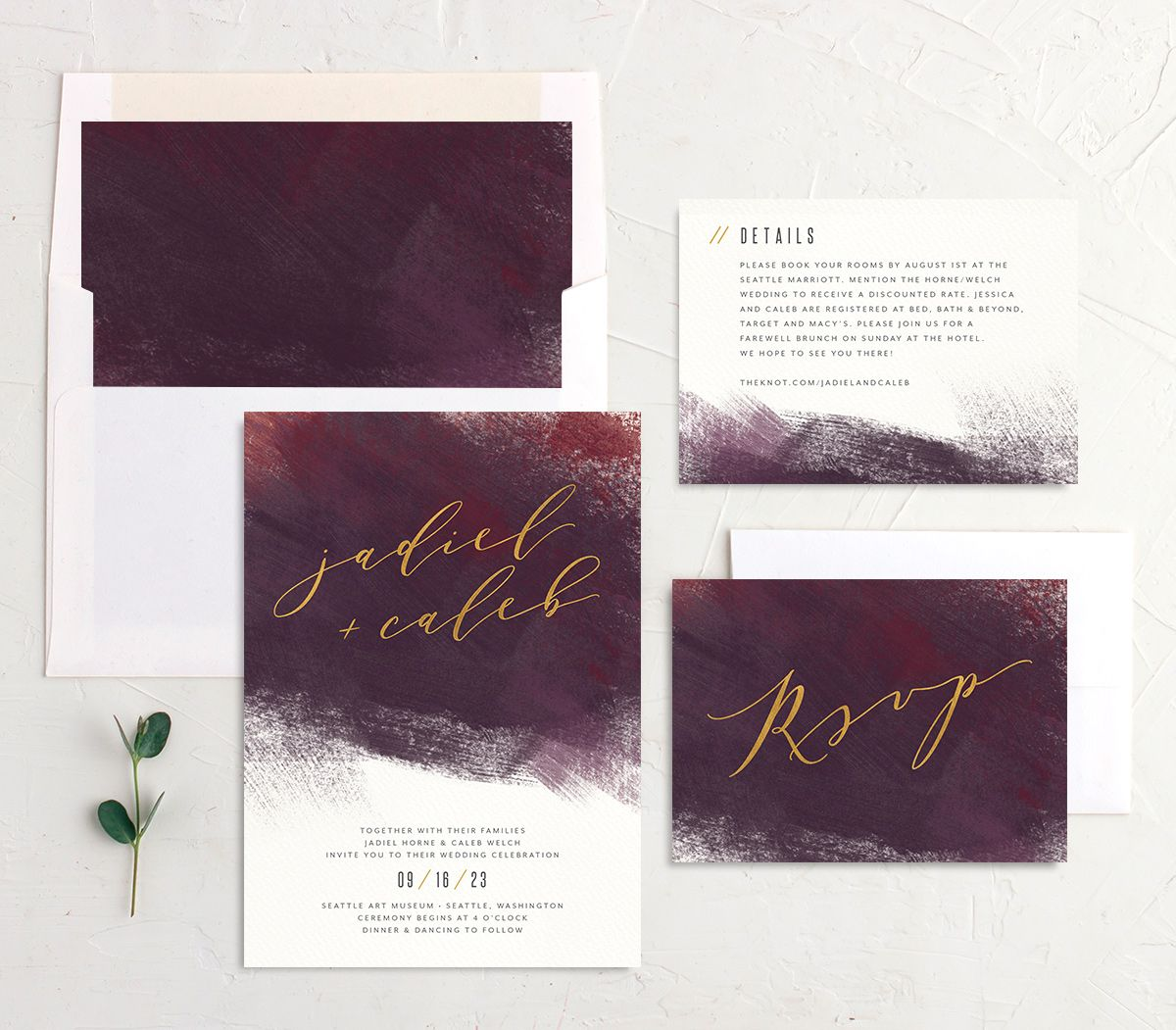 Modern Brushstroke Wedding Stationery burgundy