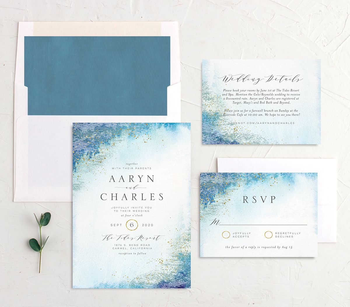 Organic Luxe Wedding Stationery Suite blue