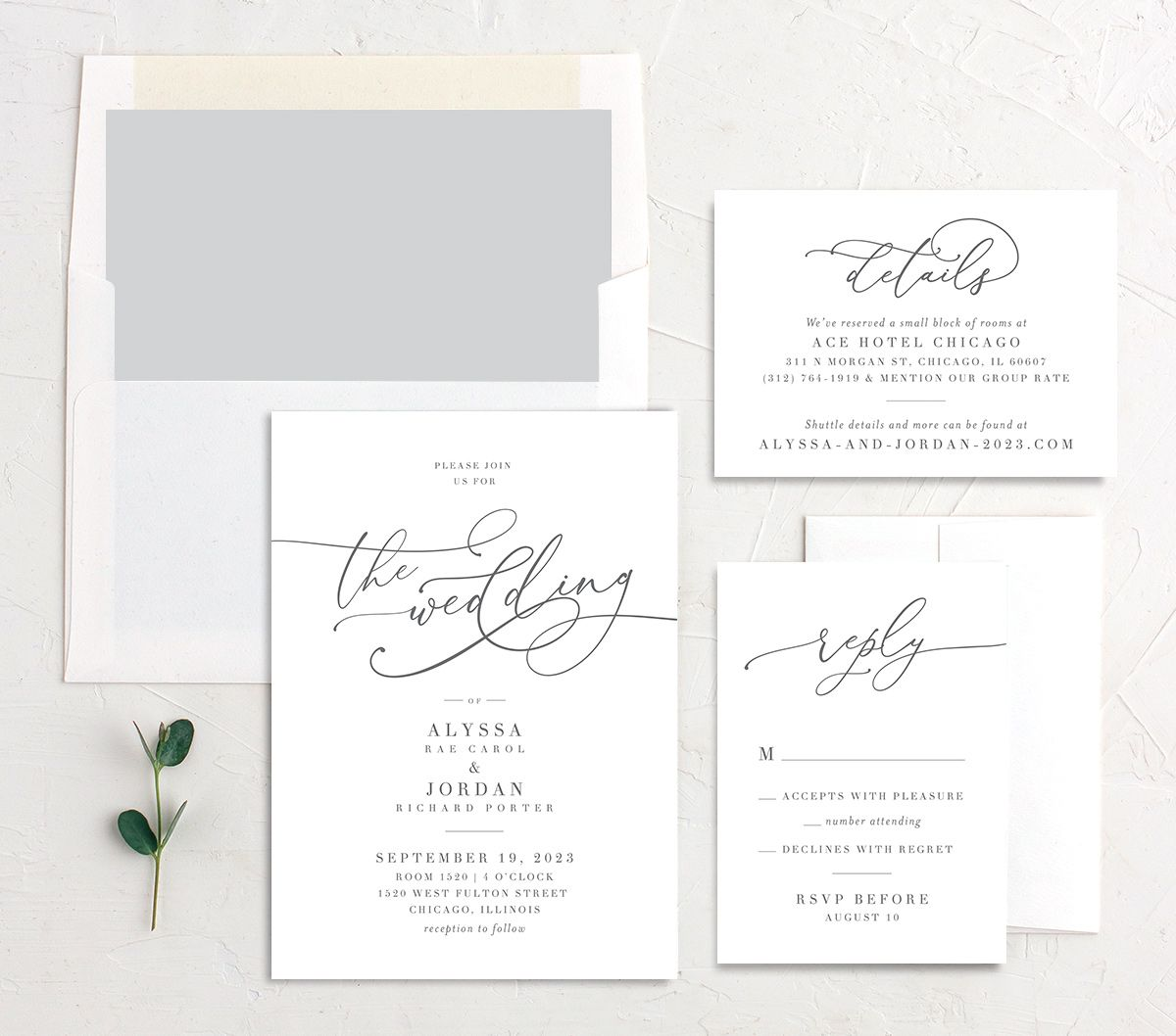 Romantic Calligraphy Wedding Stationery Suite grey