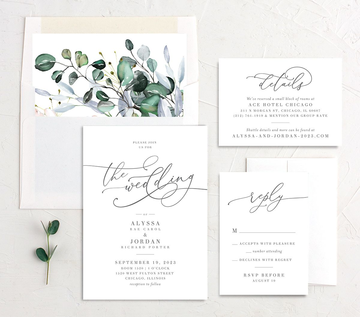 Romantic Calligraphy Wedding Stationery Suite mulberry