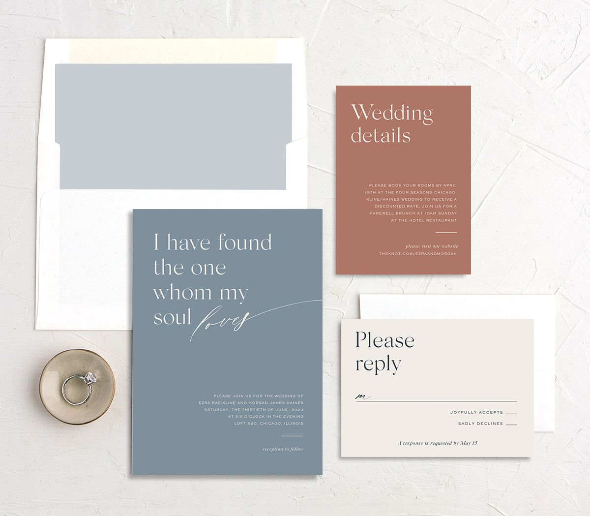 Soulmates Wedding Stationery Suite in blue
