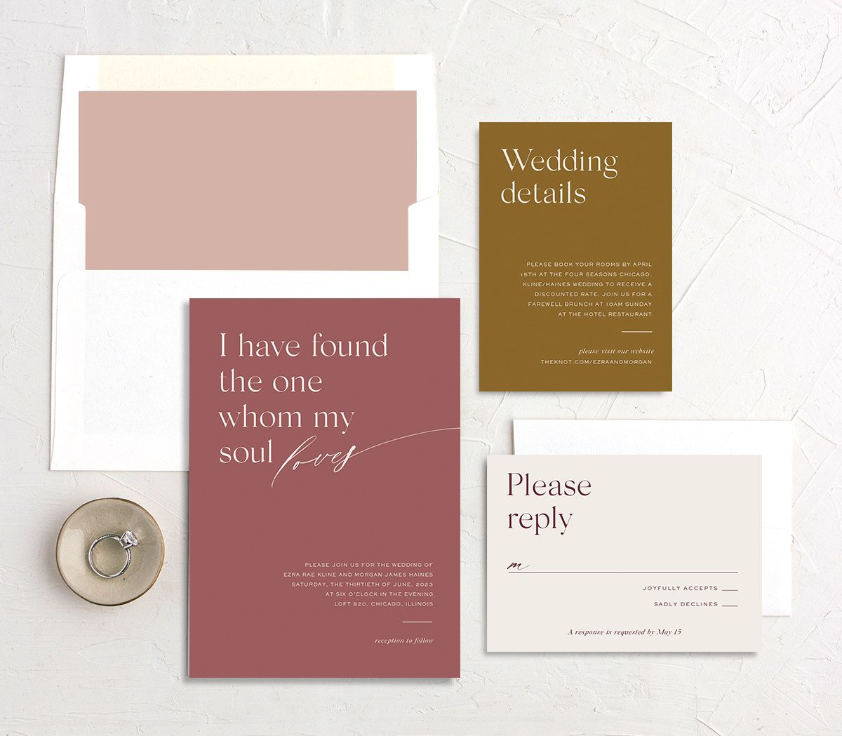 Soulmates Wedding Stationery Suite in pink
