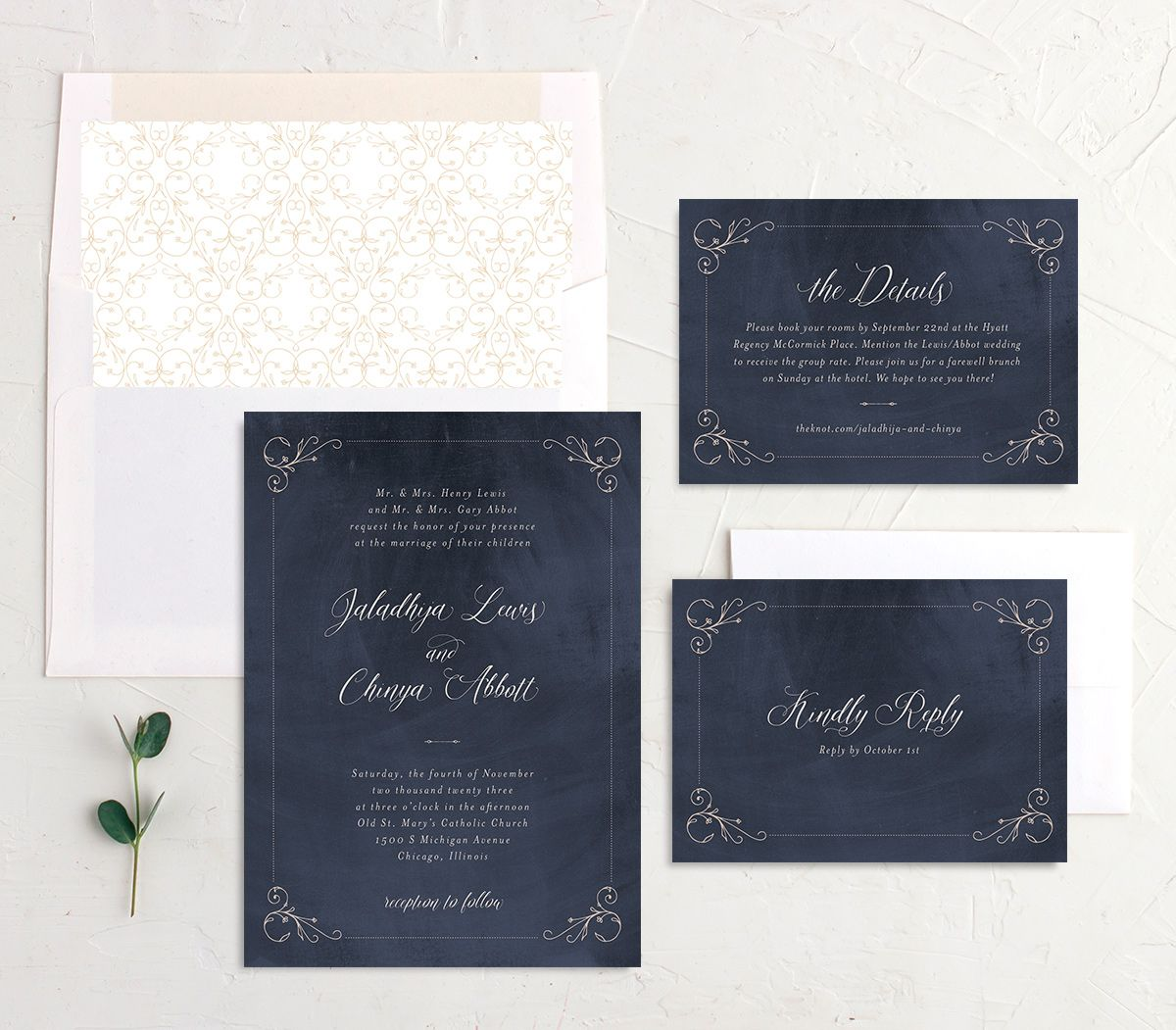 Vintage Luxe Wedding Stationery Suite blue