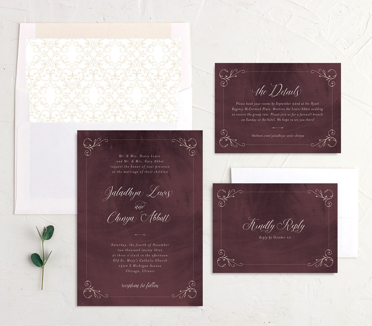 Vintage Luxe Wedding Stationery Suite red
