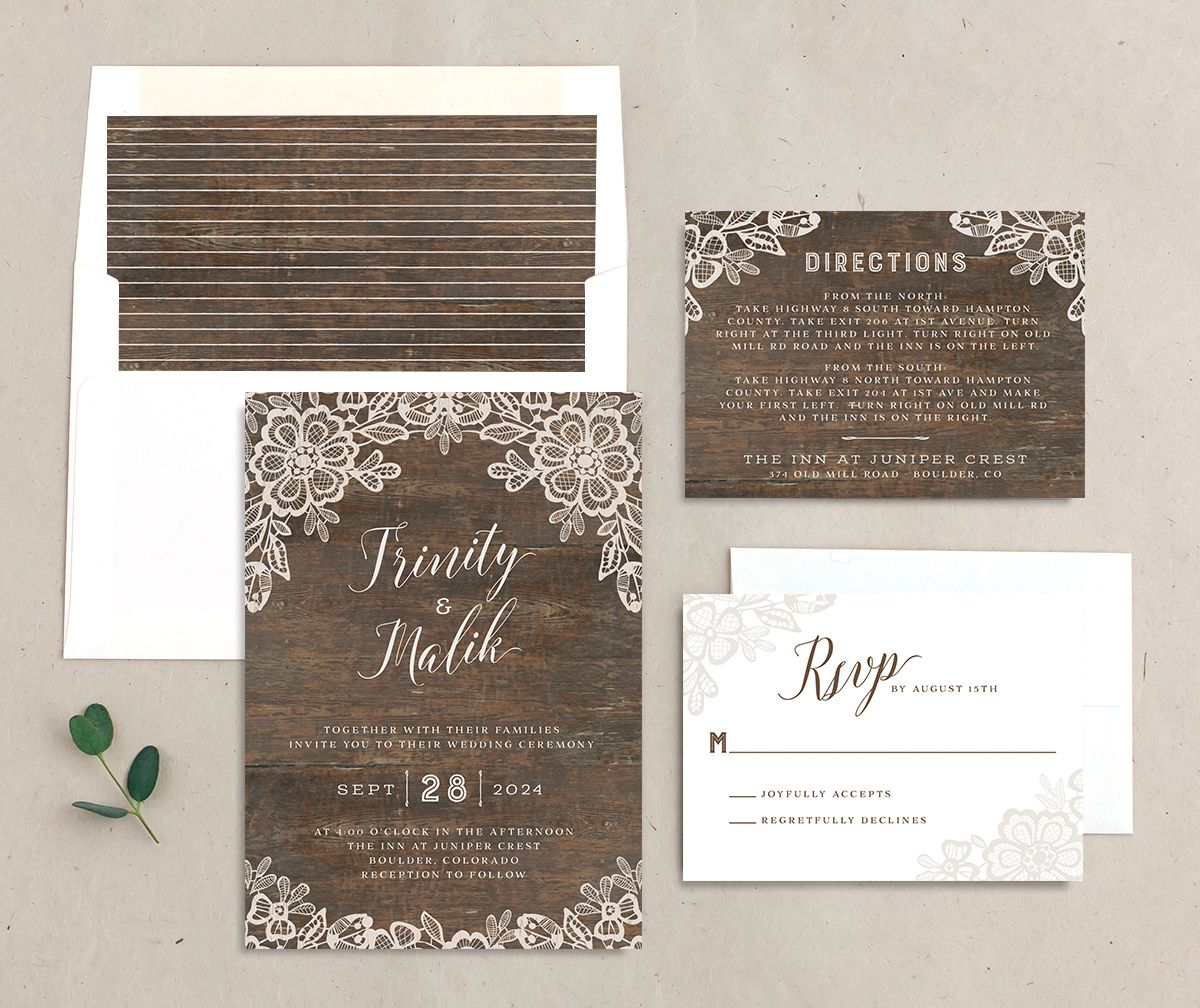 Woodgrain Lace Wedding Stationery Suite