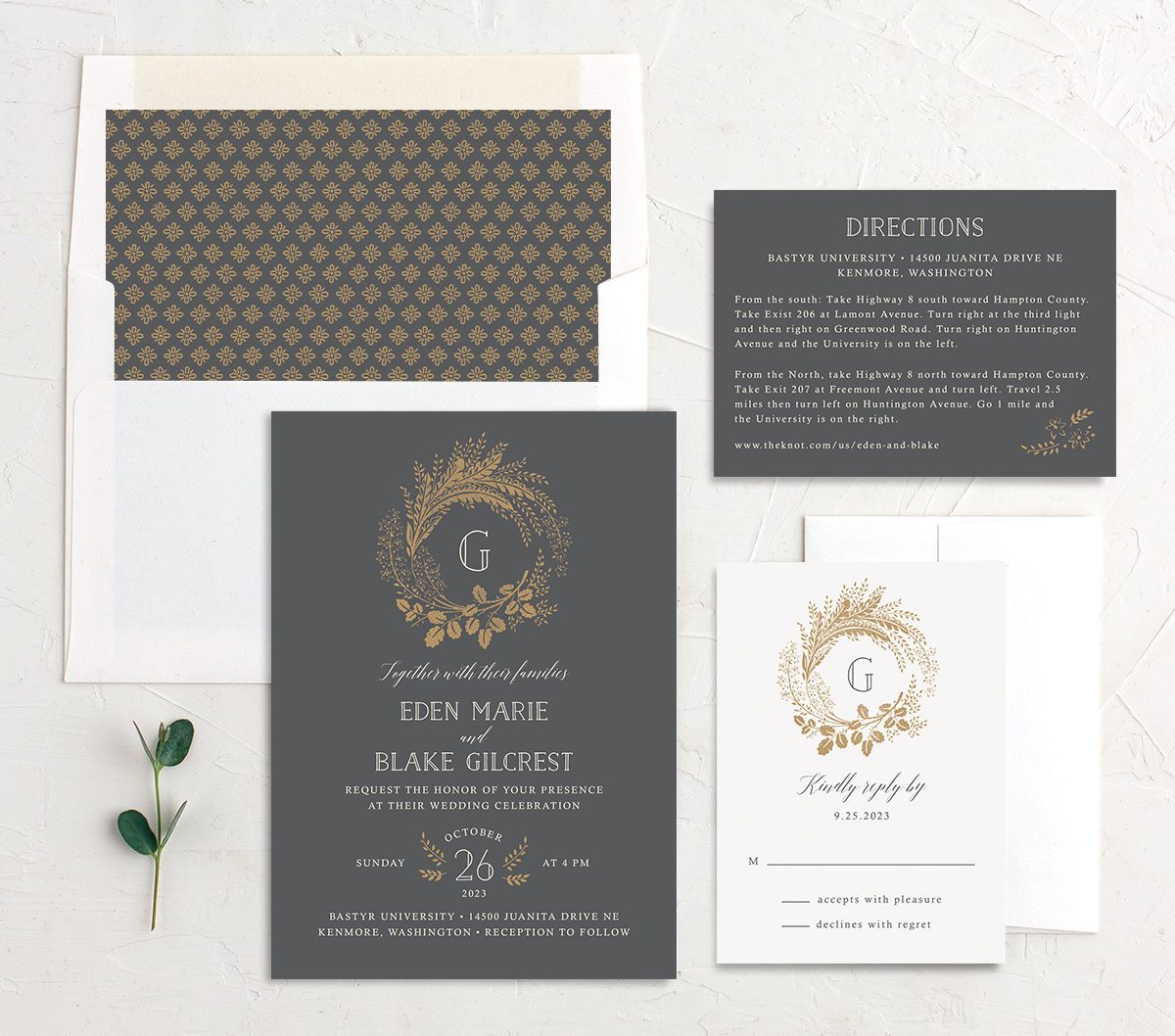 Woodsy Wreath Wedding Suite Grey