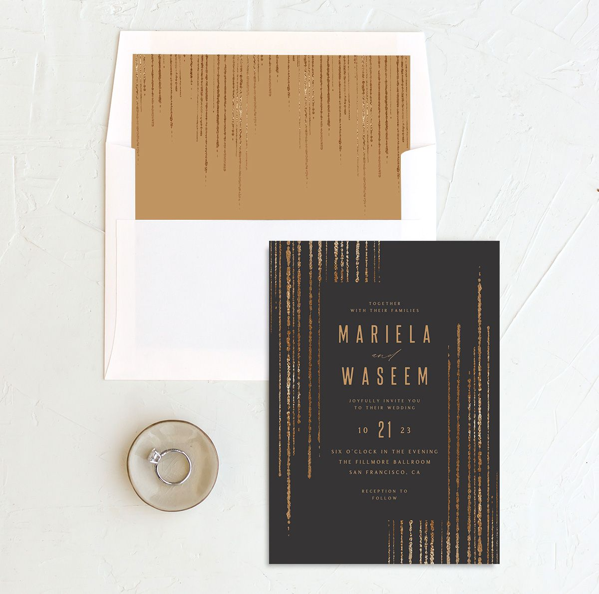 Classic Cascade Wedding Invitation with DIY liner in black