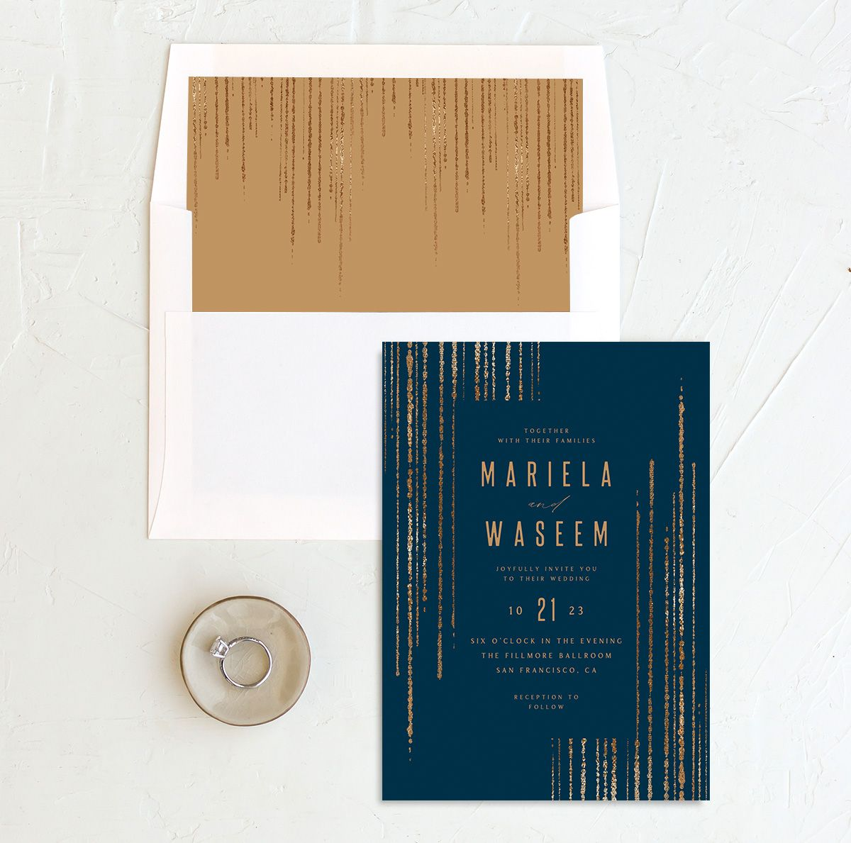 Classic Cascade Wedding Invitation with DIY liner in navy