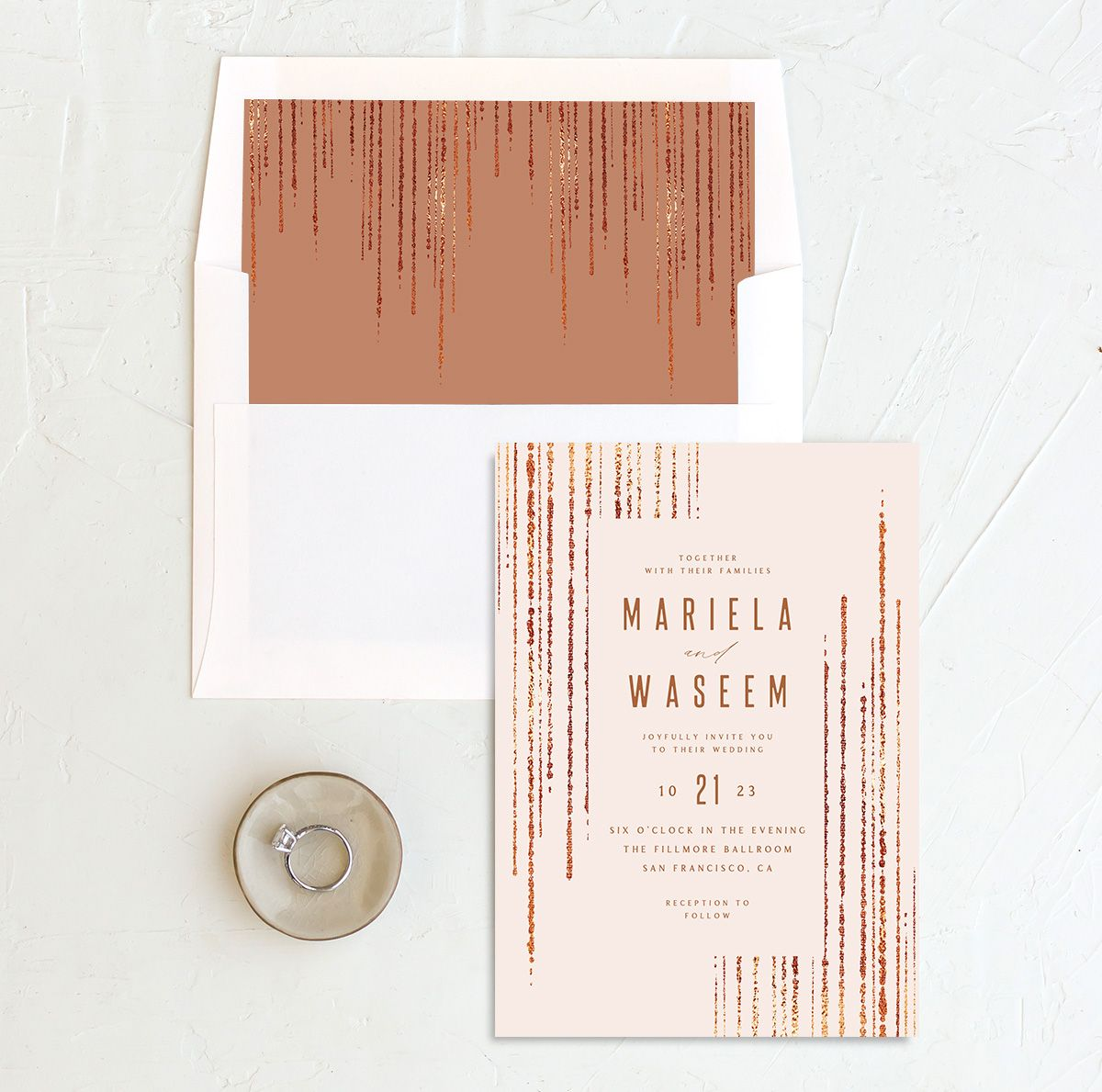 Classic Cascade Wedding Invitation with DIY liner in pink
