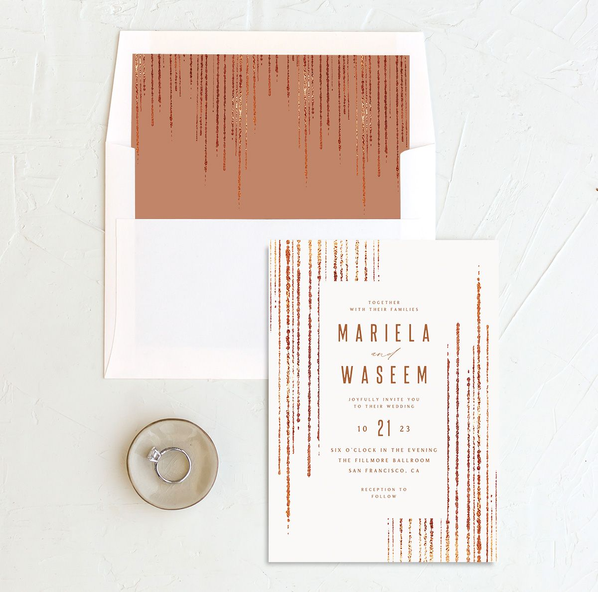 Classic Cascade Wedding Invitation with DIY liner in white