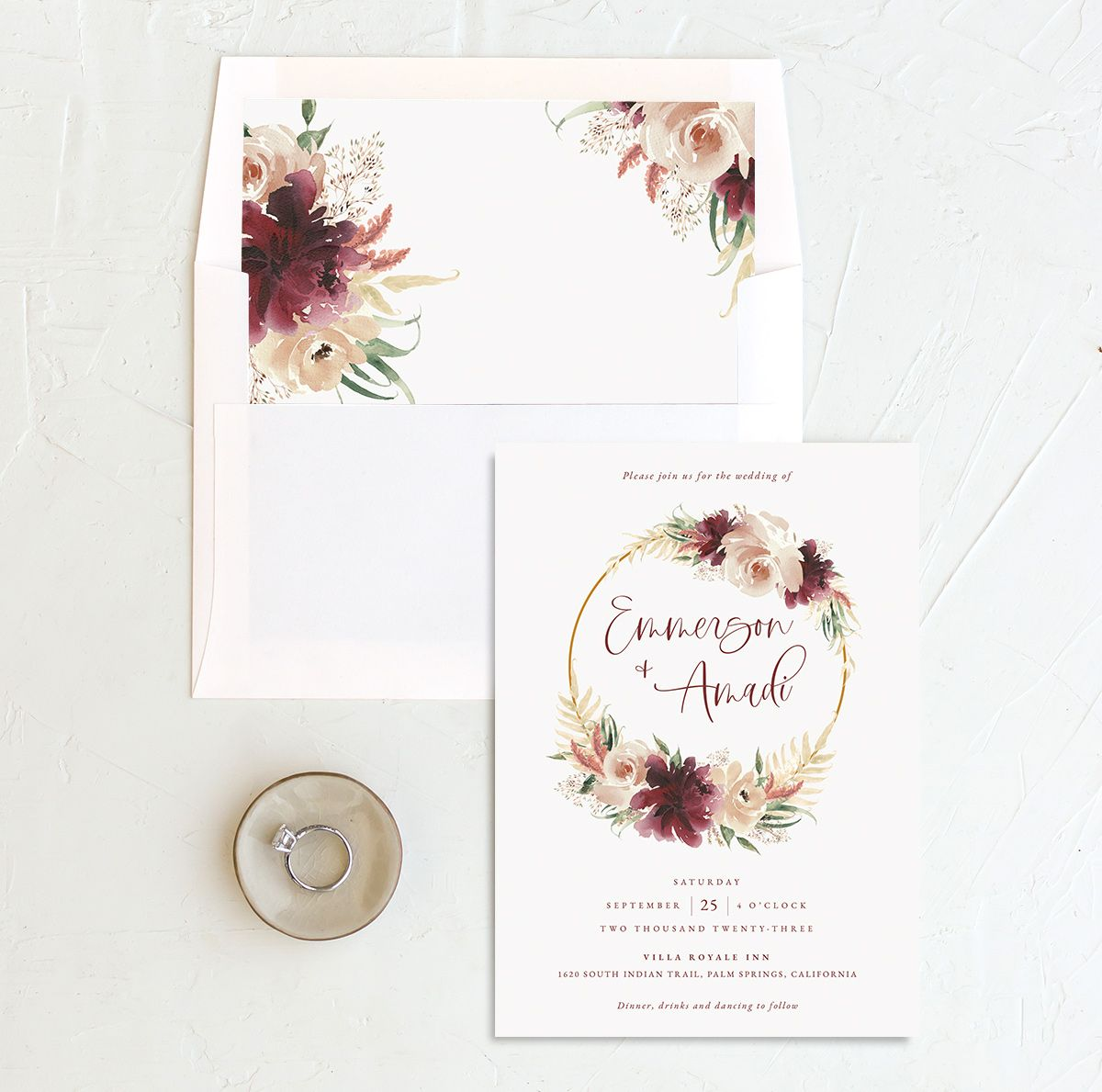Floral Wreath wedding invitation with liner