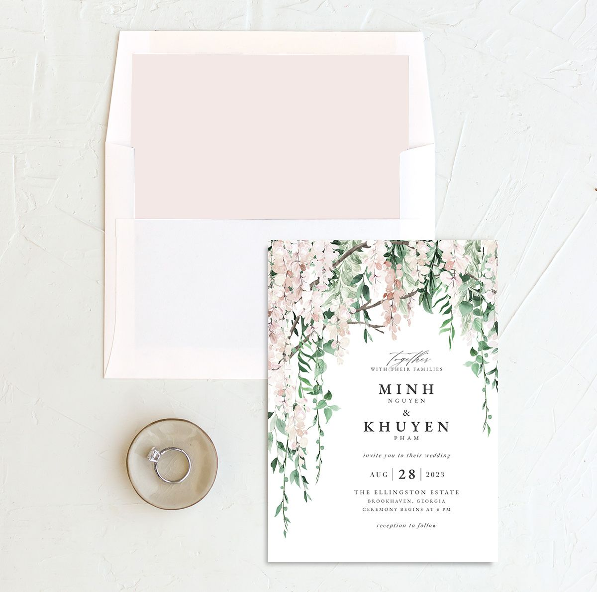 Romantic Wisteria Wedding Invitation with DIY liner in pink