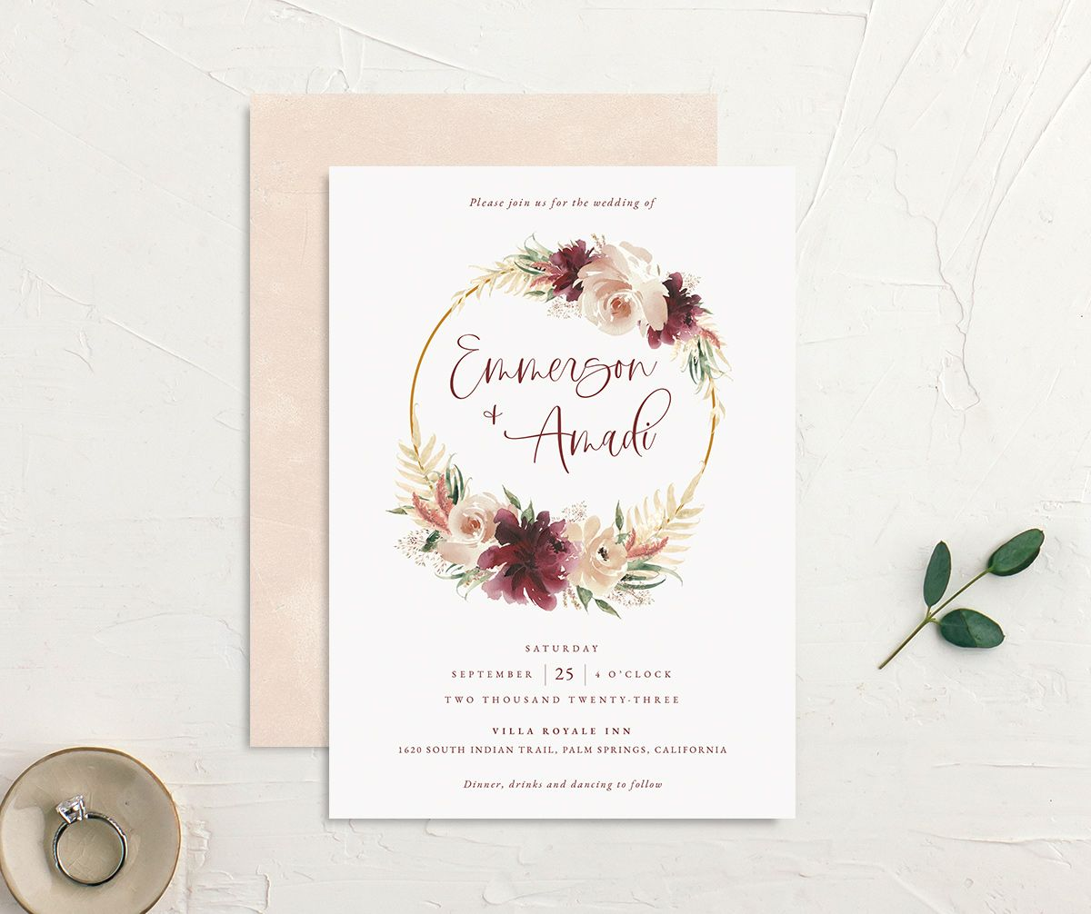 Floral Wreath wedding invitation front and back
