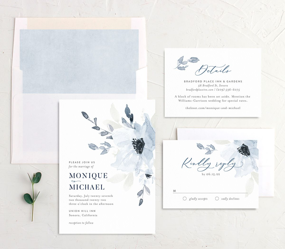 Shades of Blue Wedding Stationery Suite