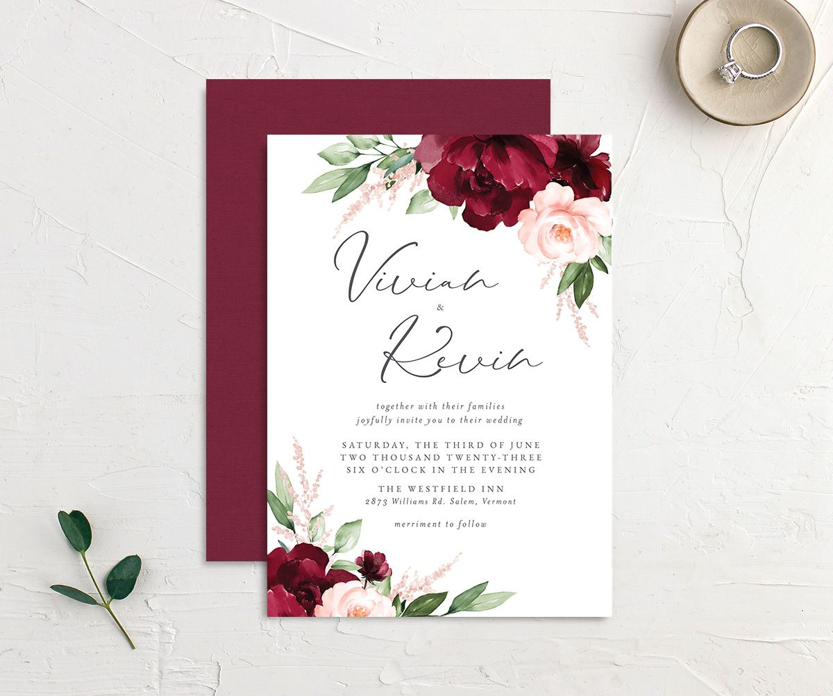 Beloved Floral Wedding Invitation front & back in red