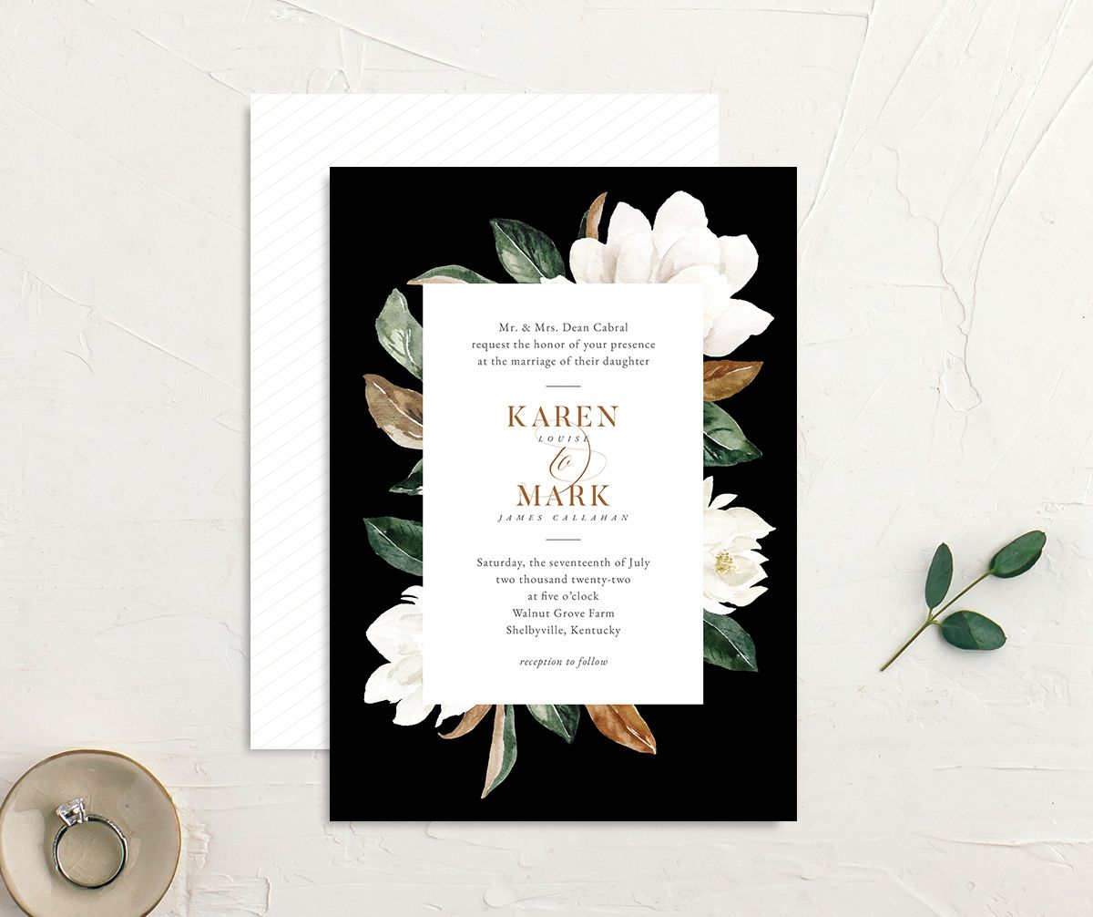 Painted Magnolia Wedding Invitation front & back in black