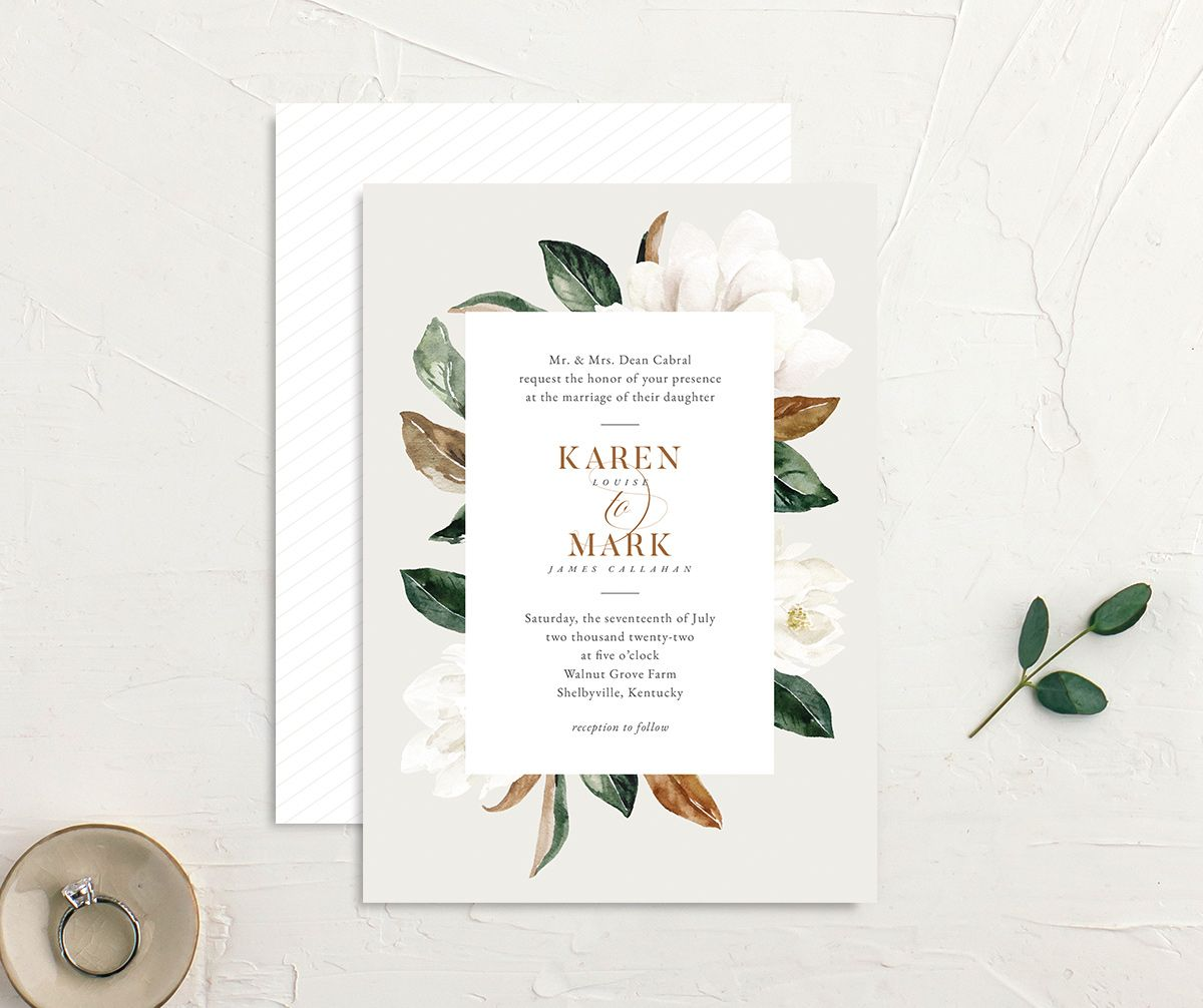 Painted Magnolia Wedding Invitation front & back in grey
