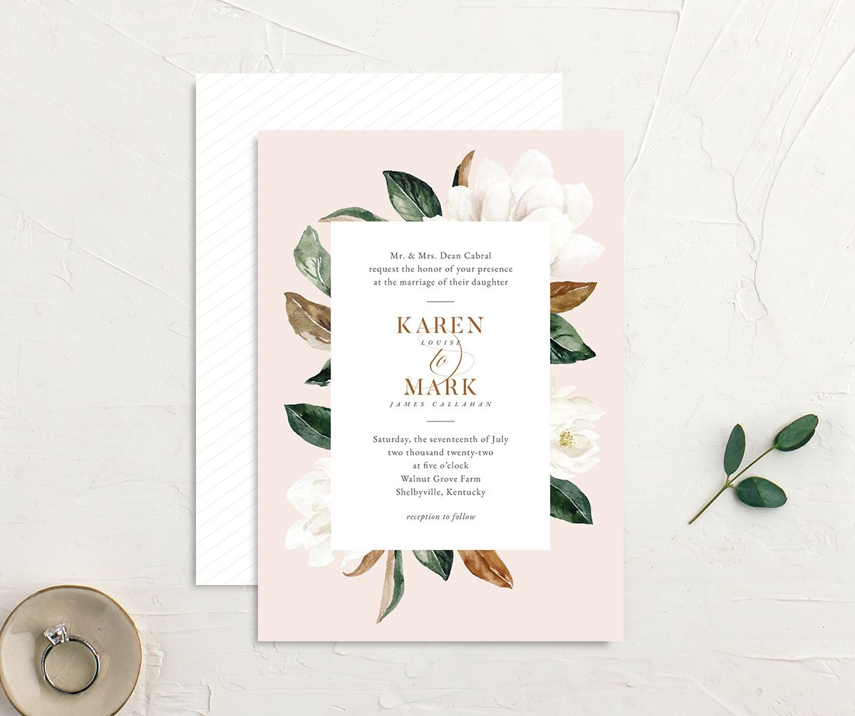 Painted Magnolia Wedding Invitation front & back in pink