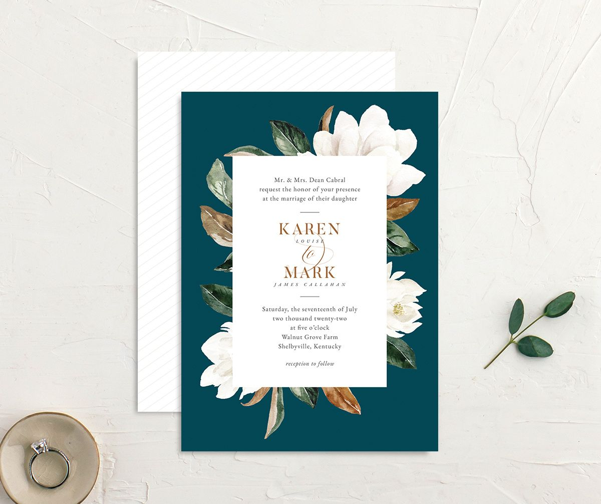 Painted Magnolia Wedding Invitation front & back in teal