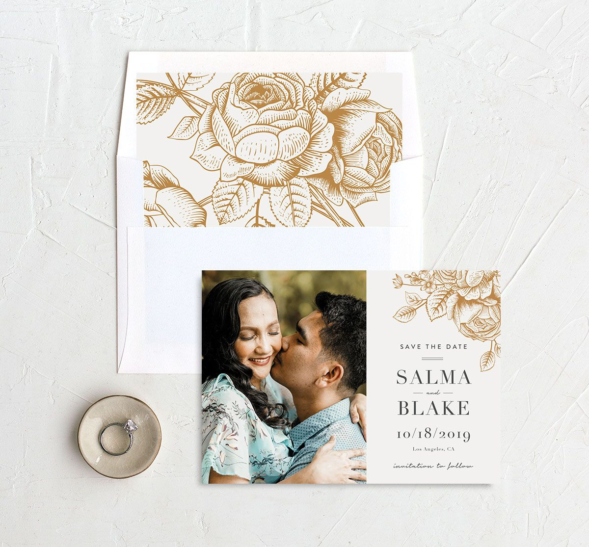 Etched Botanical Wedding Save the Date Card and Envelope Liner