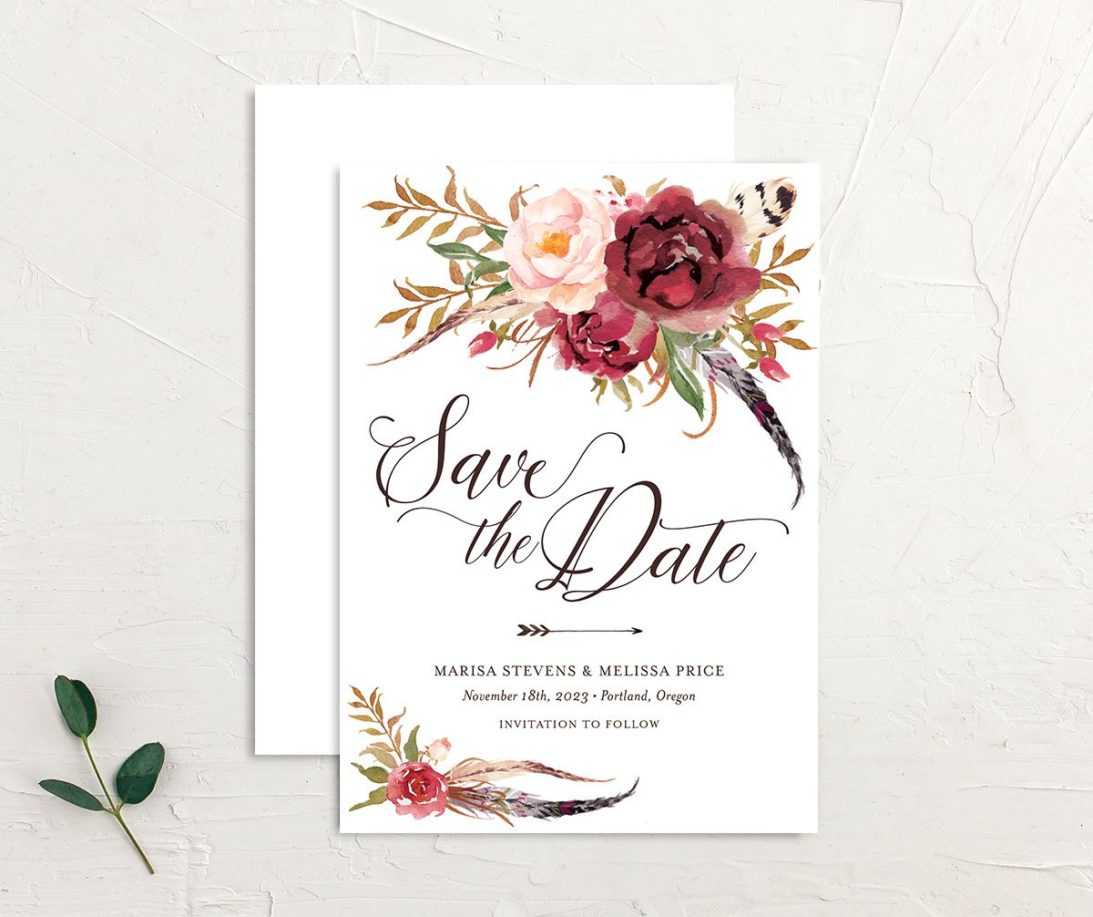 Bohemian Floral Save the Date Card front and back burgundy