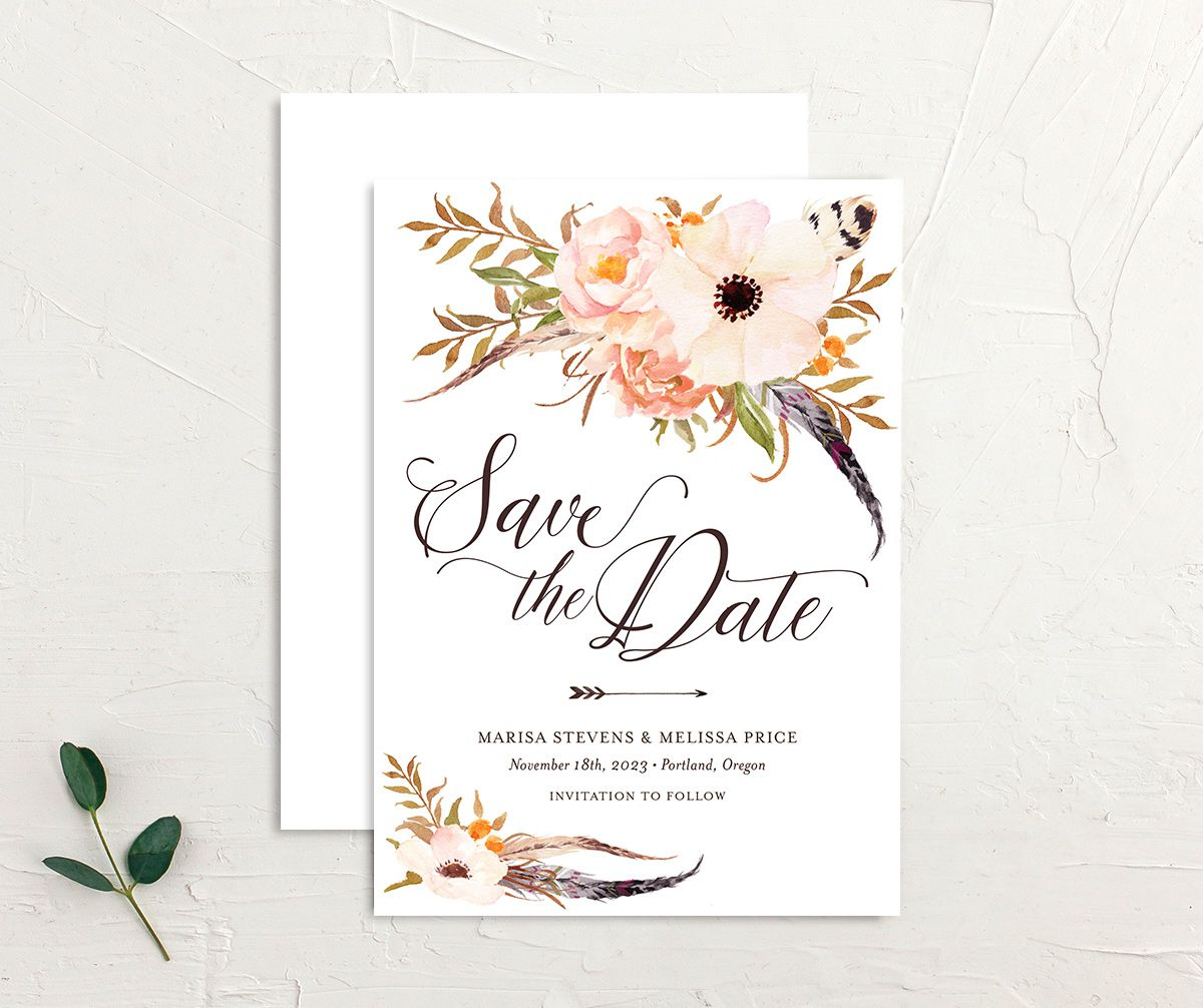 Bohemian Floral Save the Date Card front and back peach