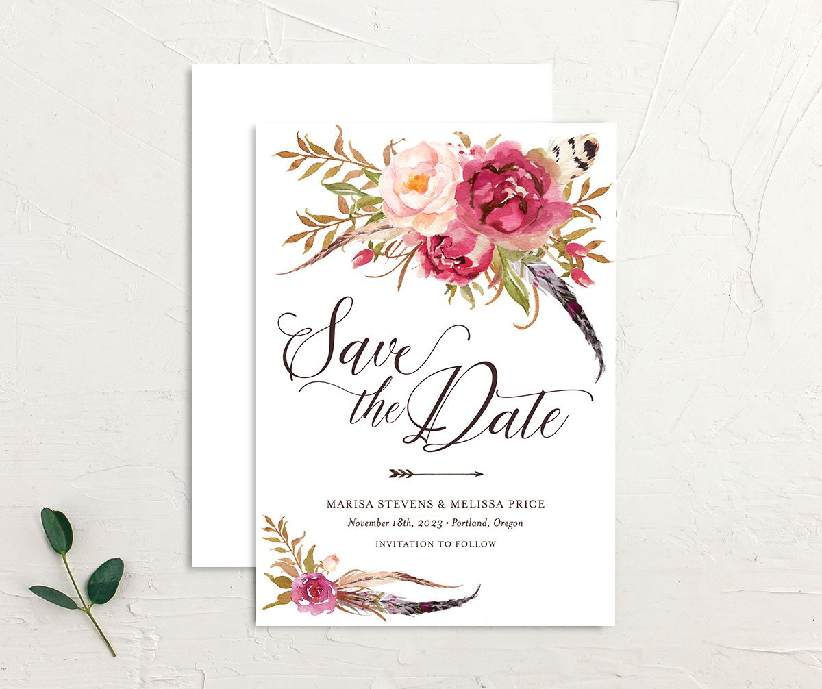 Bohemian Floral Save the Date Card front and back pink