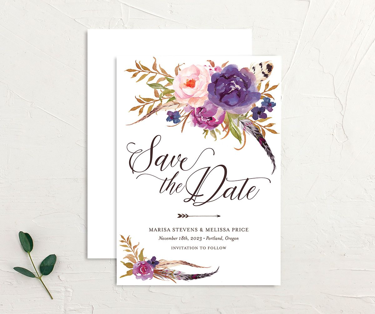 Bohemian Floral Save the Date Card front and back purple