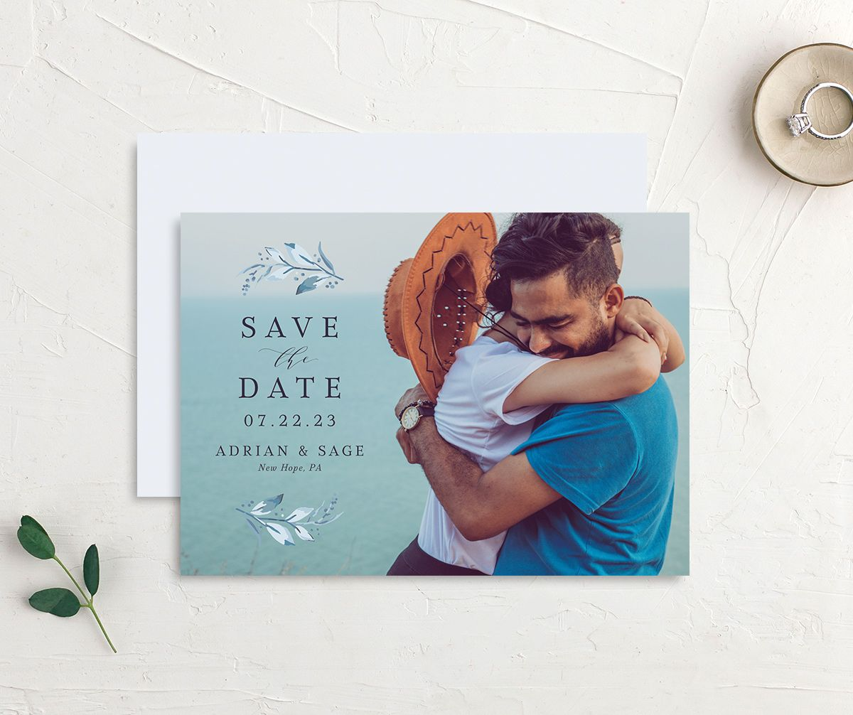 Classic Greenery Save the Date Card front & back in blue