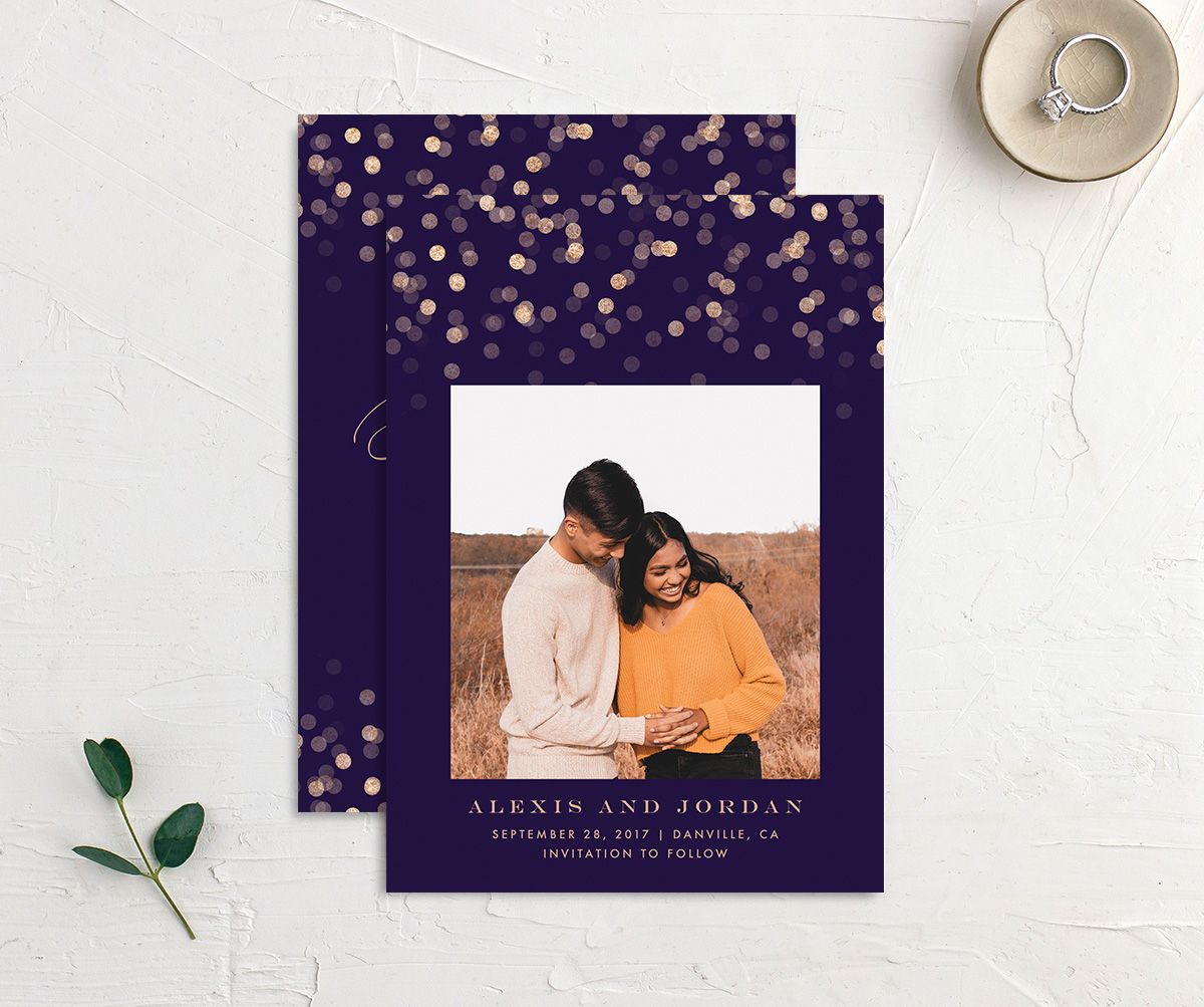 Elegant Glow Save the Date Card front & back in purple