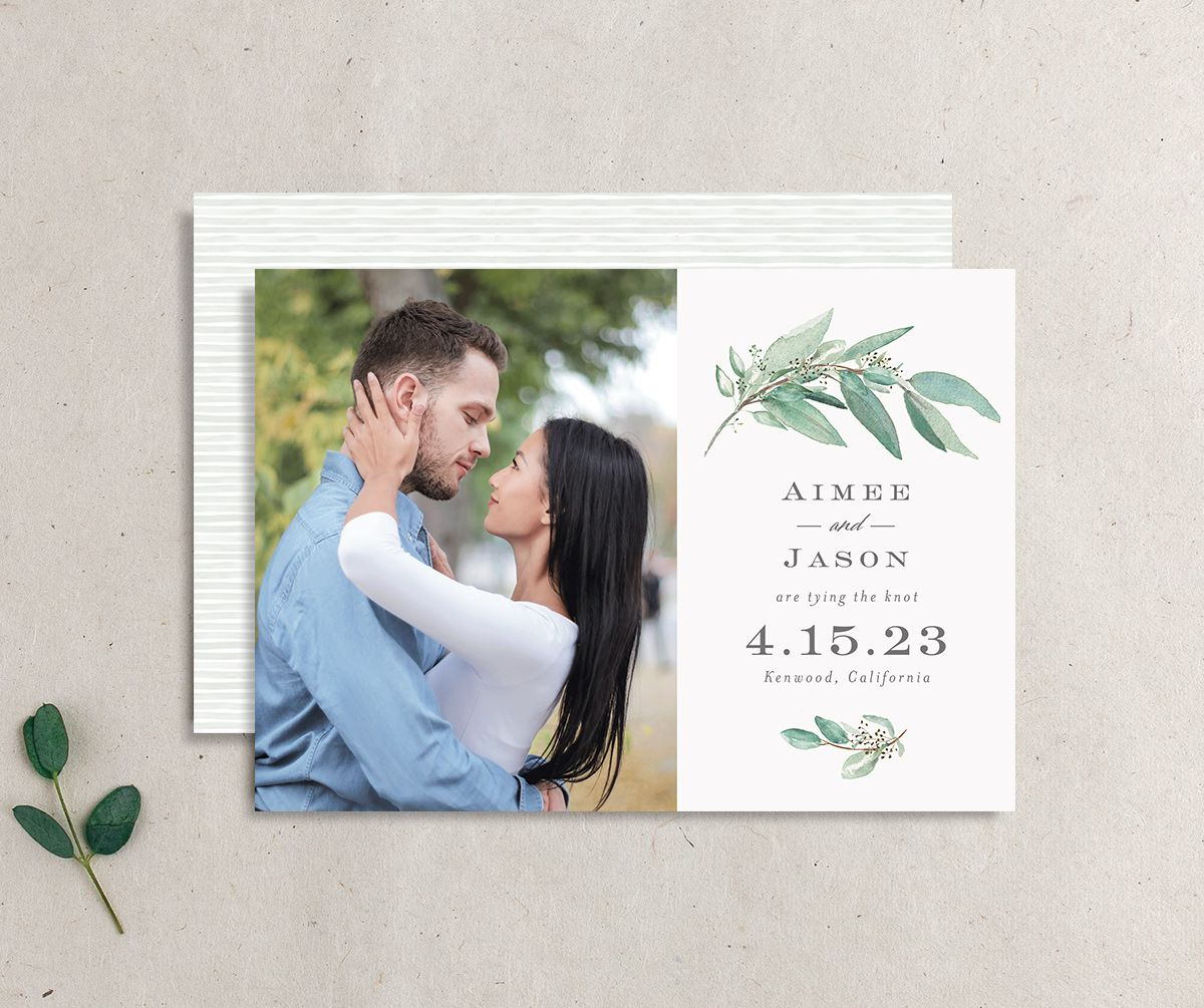 Lush Greenery Wedding Save the Date Card front and back