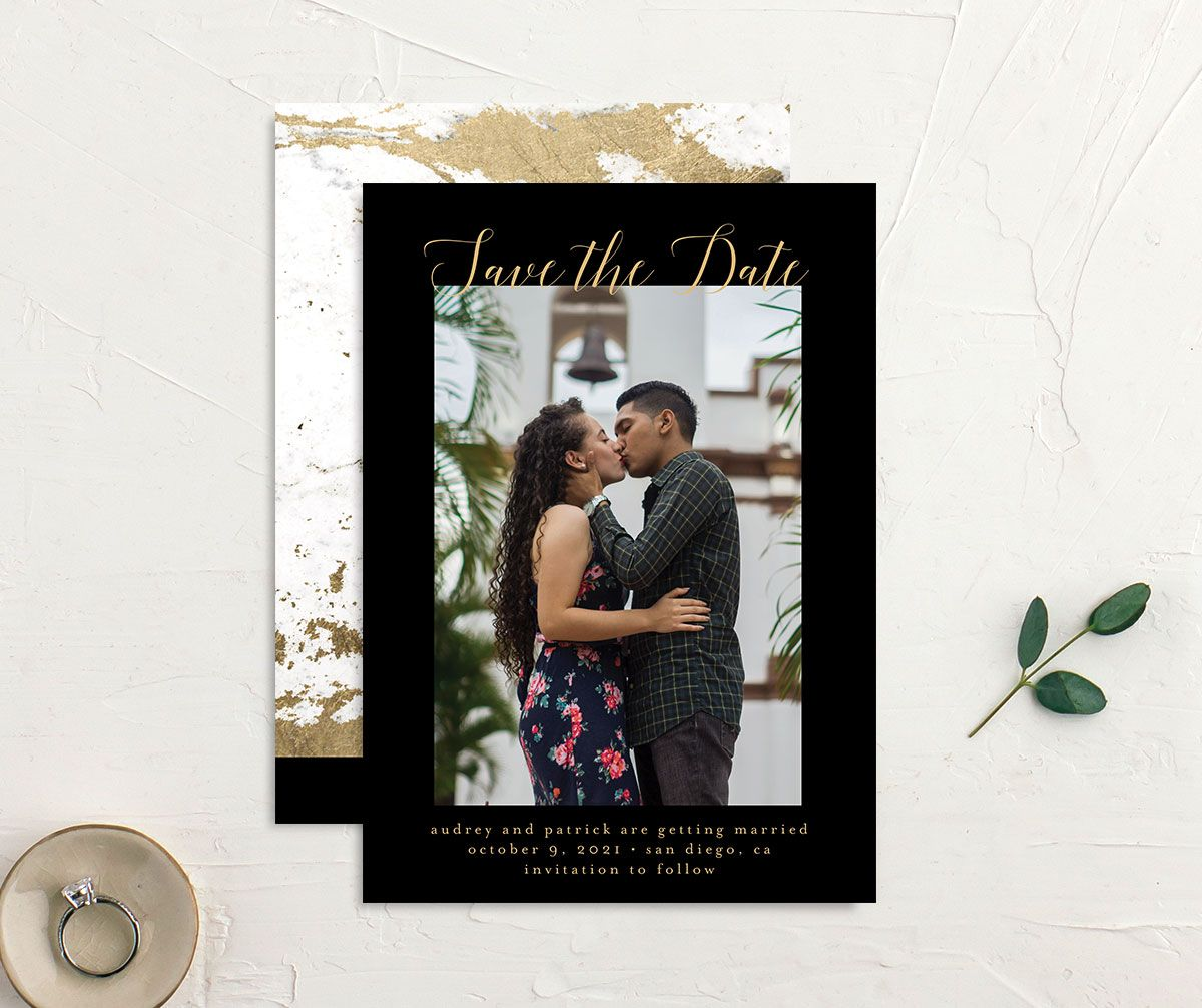 Marble and Gold Save the Date Card front and back black