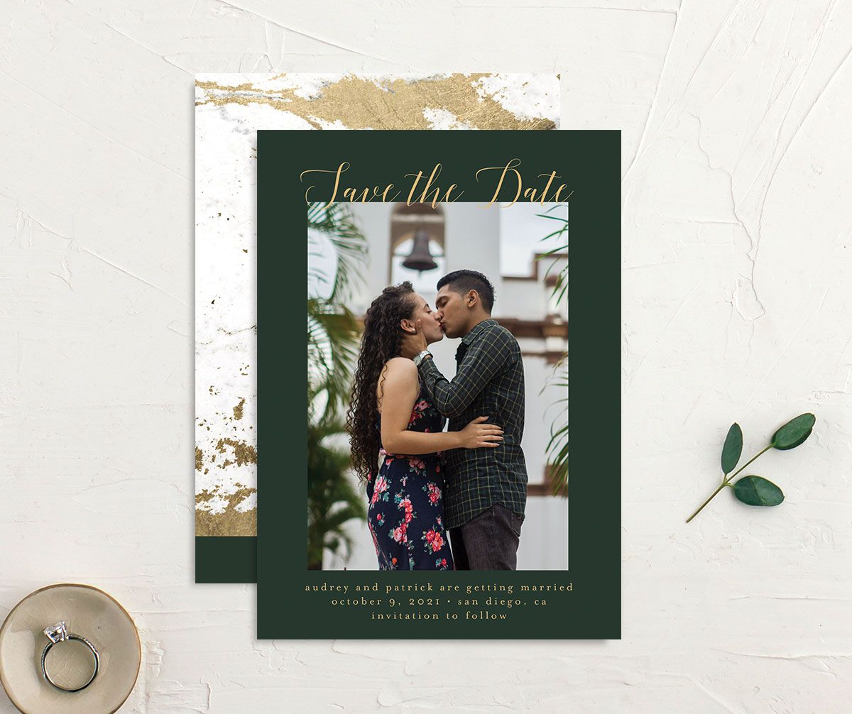 Marble and Gold Save the Date Card front and back green