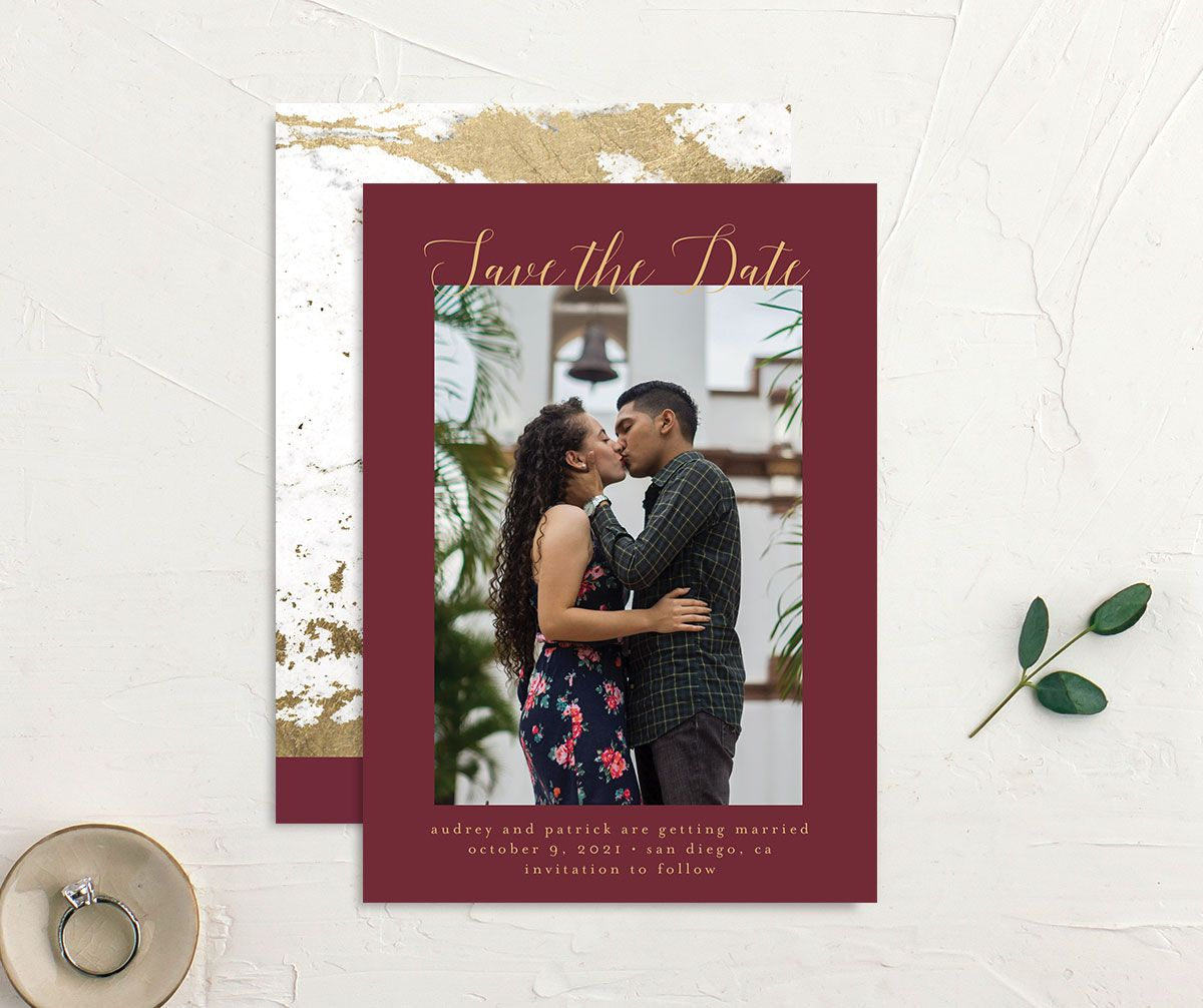Marble and Gold Save the Date Card front and back red