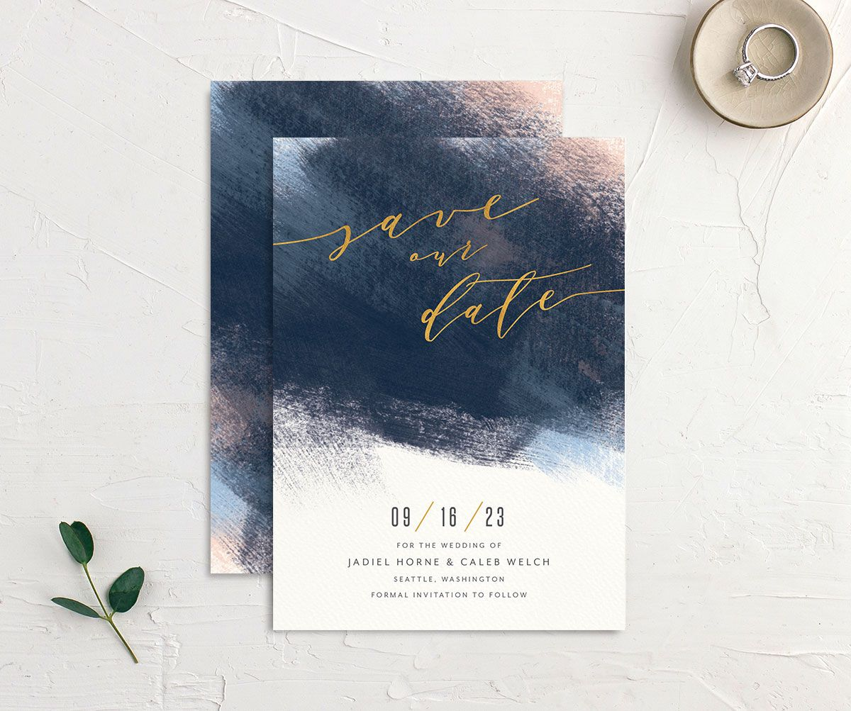 Modern Brushstroke Save the Date Card front and back blue