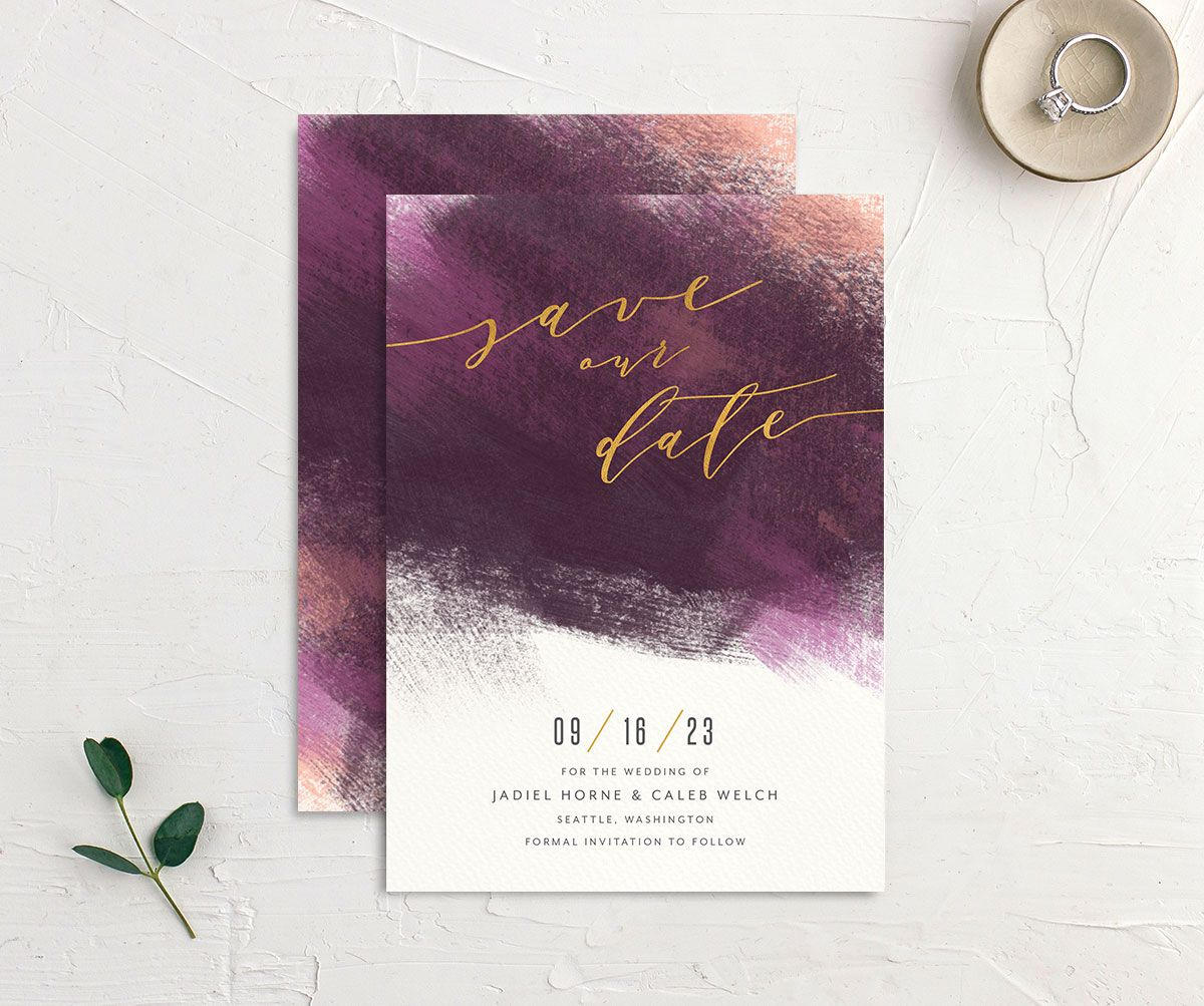 Modern Brushstroke Save the Date Card front and back purple
