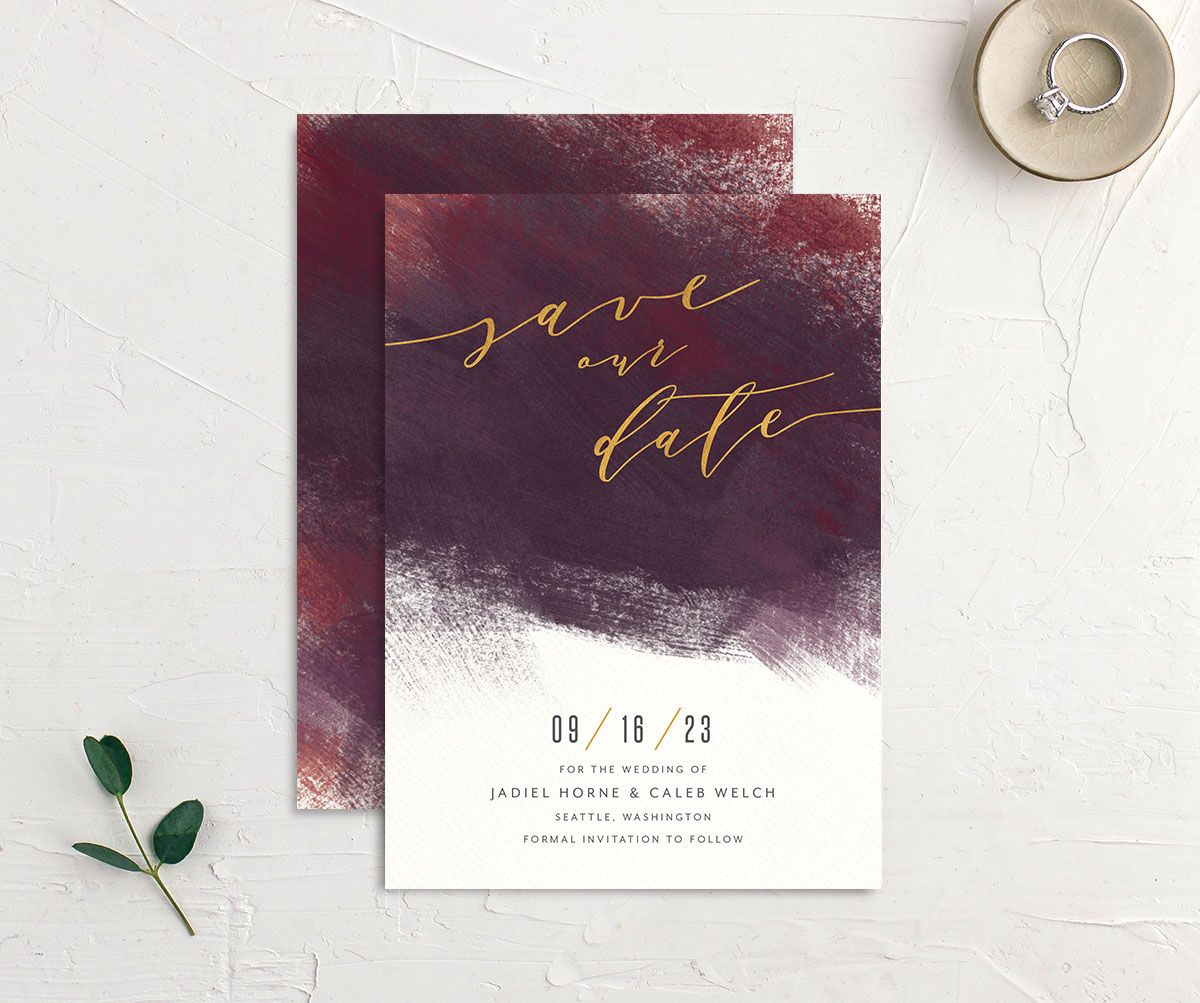 Modern Brushstroke Save the Date Card front and back burgundy