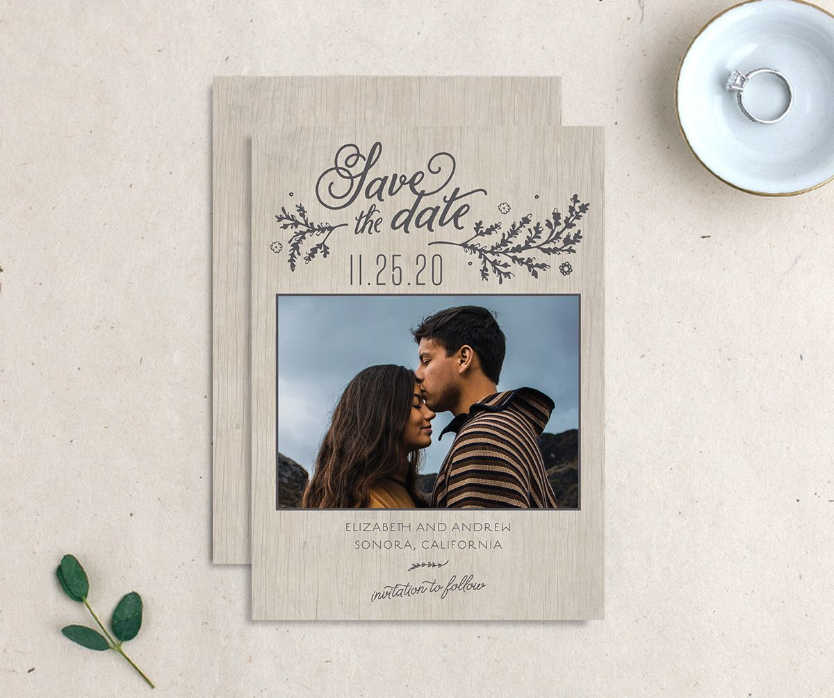 Rustic Chic Save the Date Card front and back grey