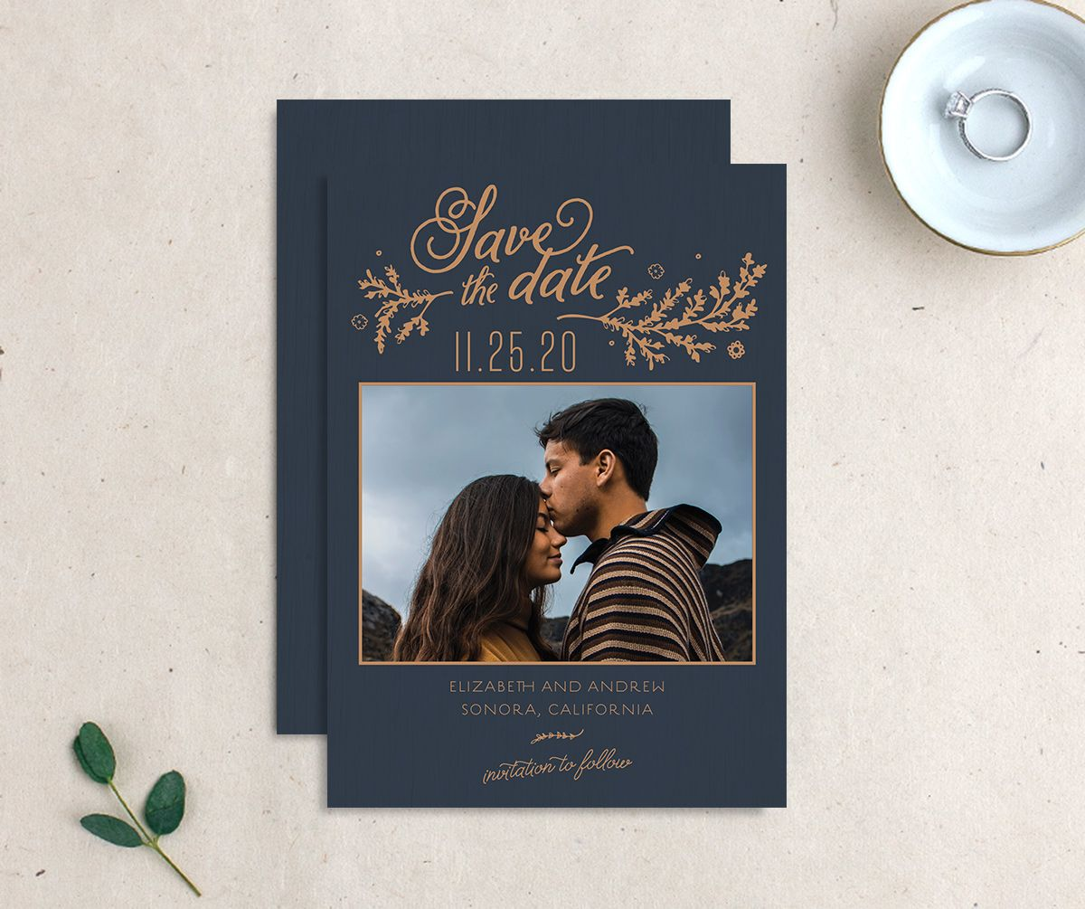 Rustic Chic Save the Date Card front and back navy