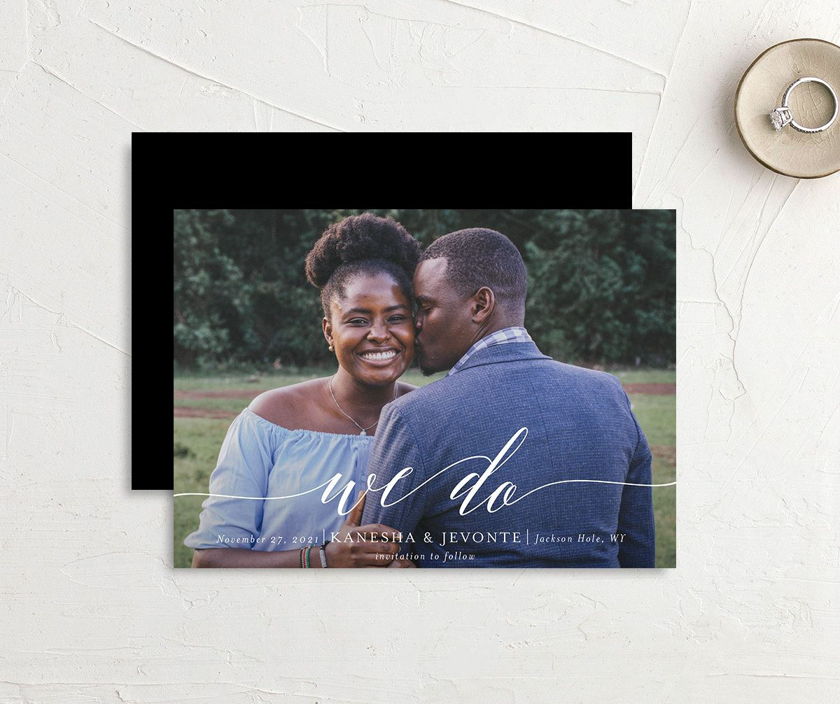 Scripted We Do Save the Date card front and back black