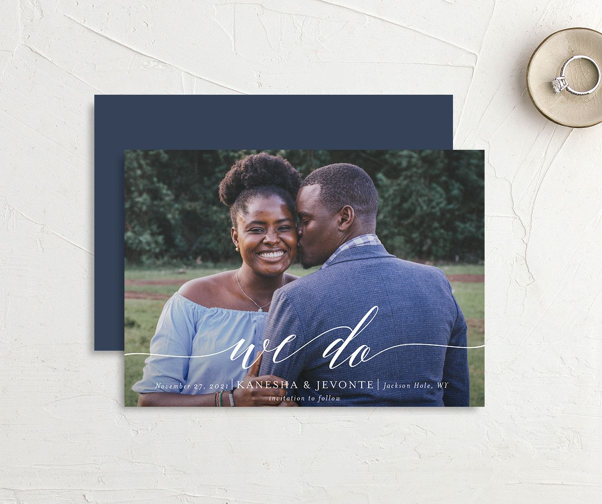 Scripted We Do Save the Date card front and back blue