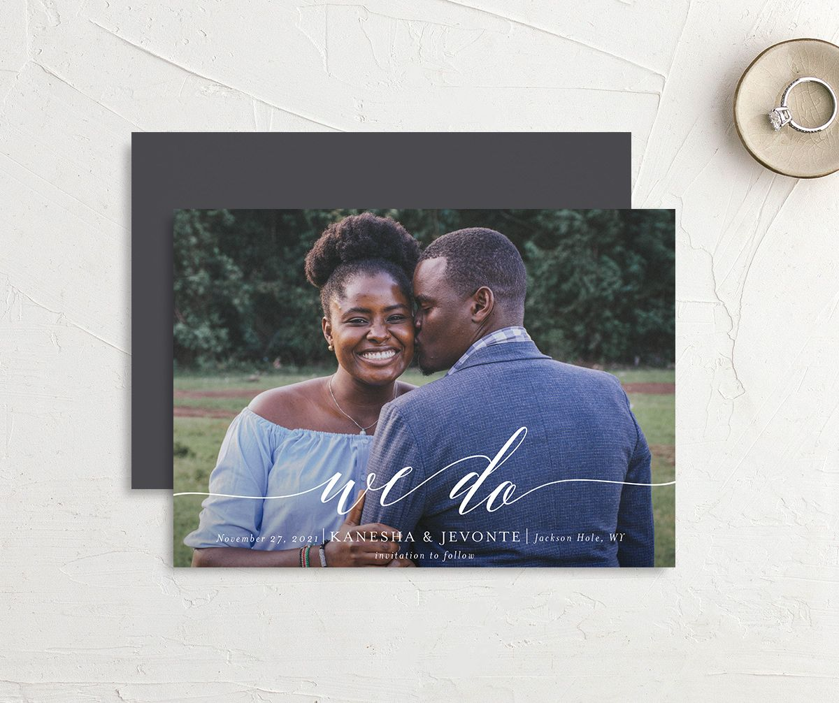 Scripted We Do Save the Date card front and back grey