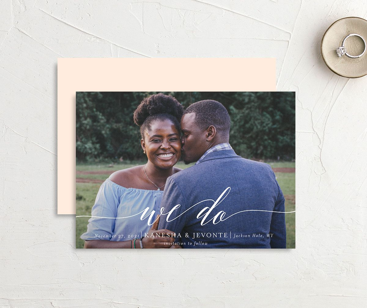 Scripted We Do Save the Date card front and back pink