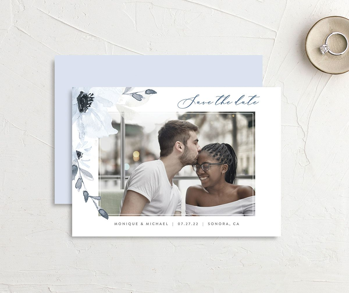Shades of Blue Wedding Save the Date Card front and back