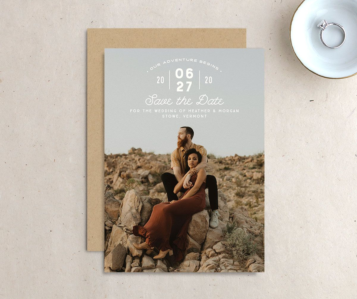 Vintage Mountain Save the Date Card front and back