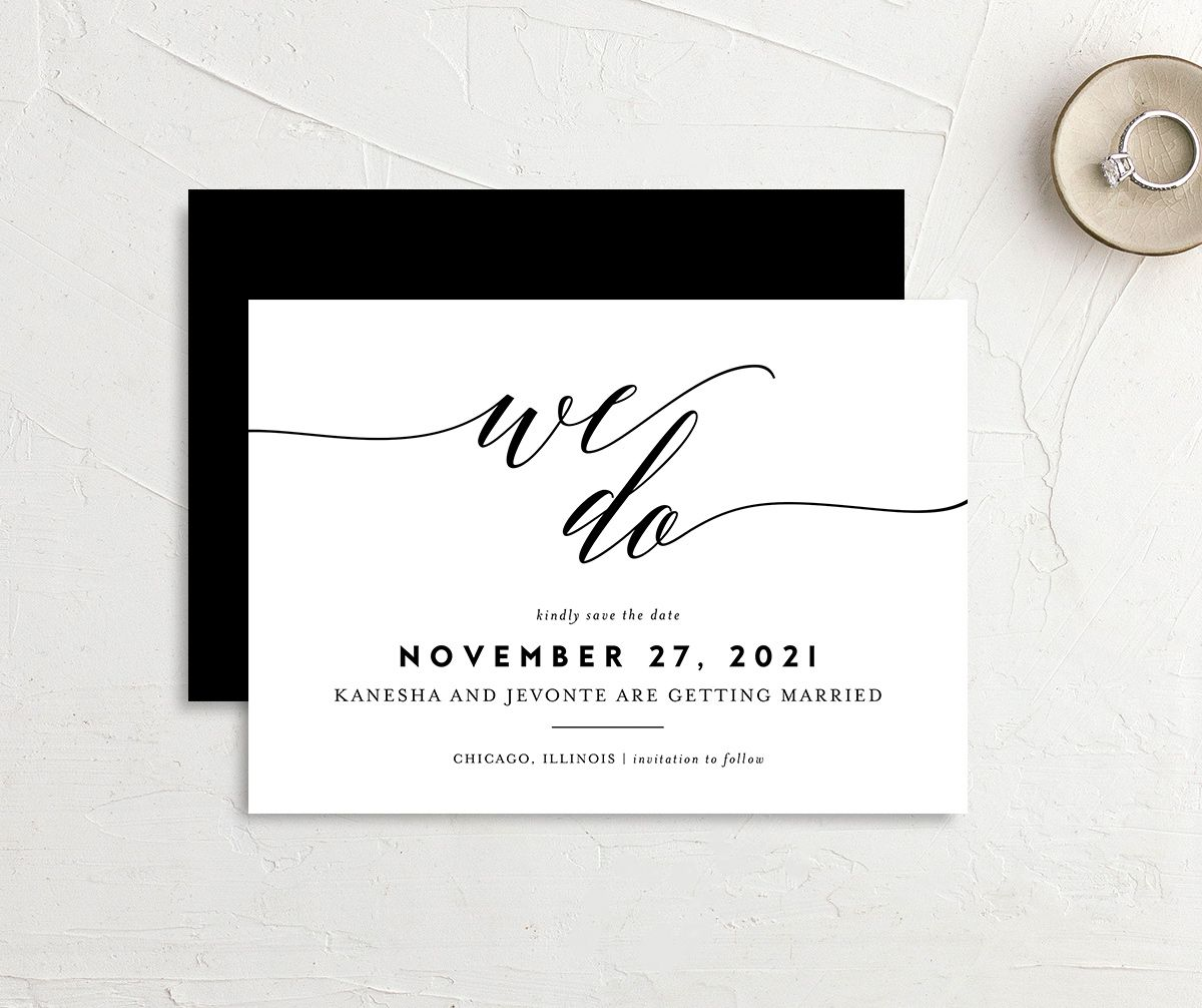 We Do Save the Date Card front and back black